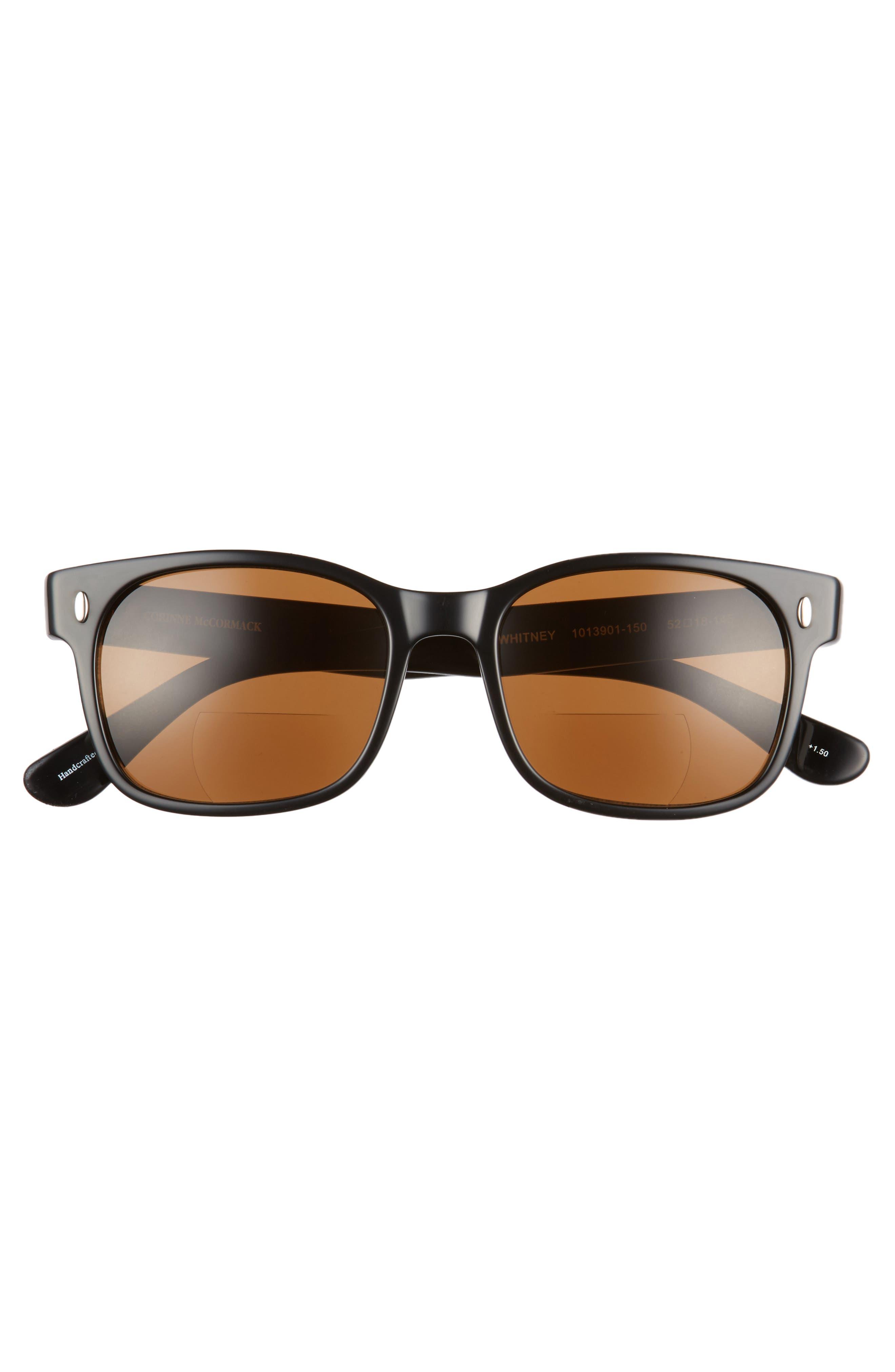 Whitney 52mm Reading Sunglasses,                             Alternate thumbnail 3, color,                             BLACK