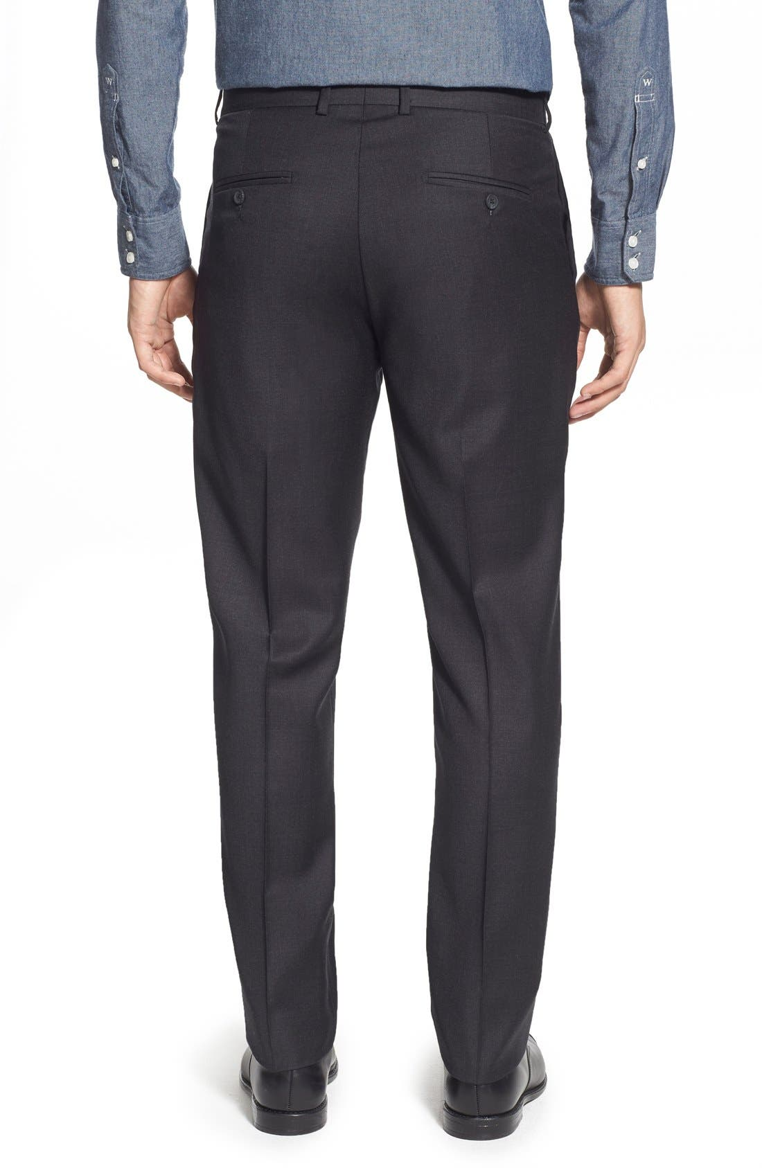 'Dagger' Flat Front Solid Wool Trousers,                             Alternate thumbnail 5, color,                             020