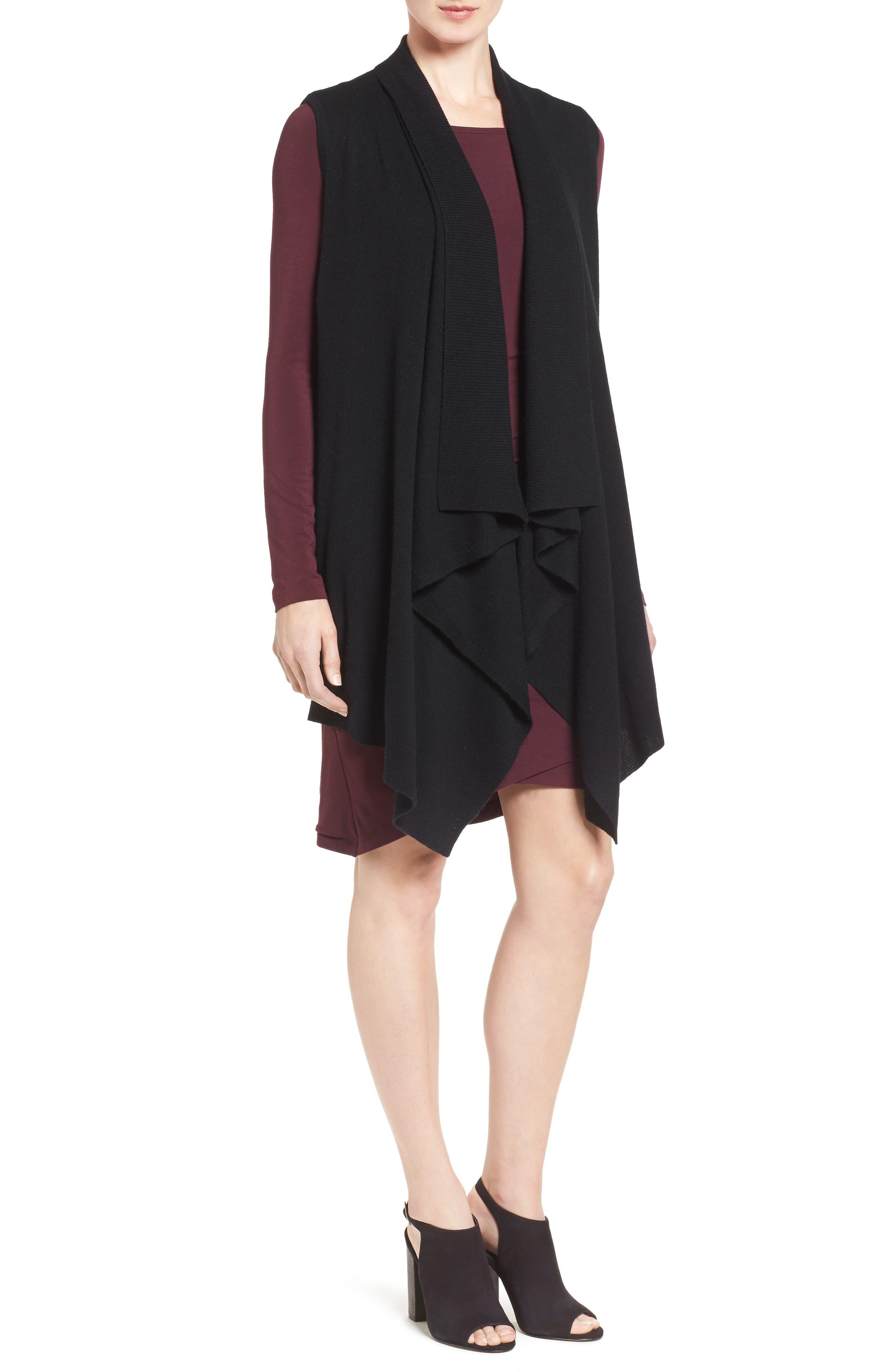 Petite Halogen Wool & Cashmere Drape Front Sweater Vest, Black