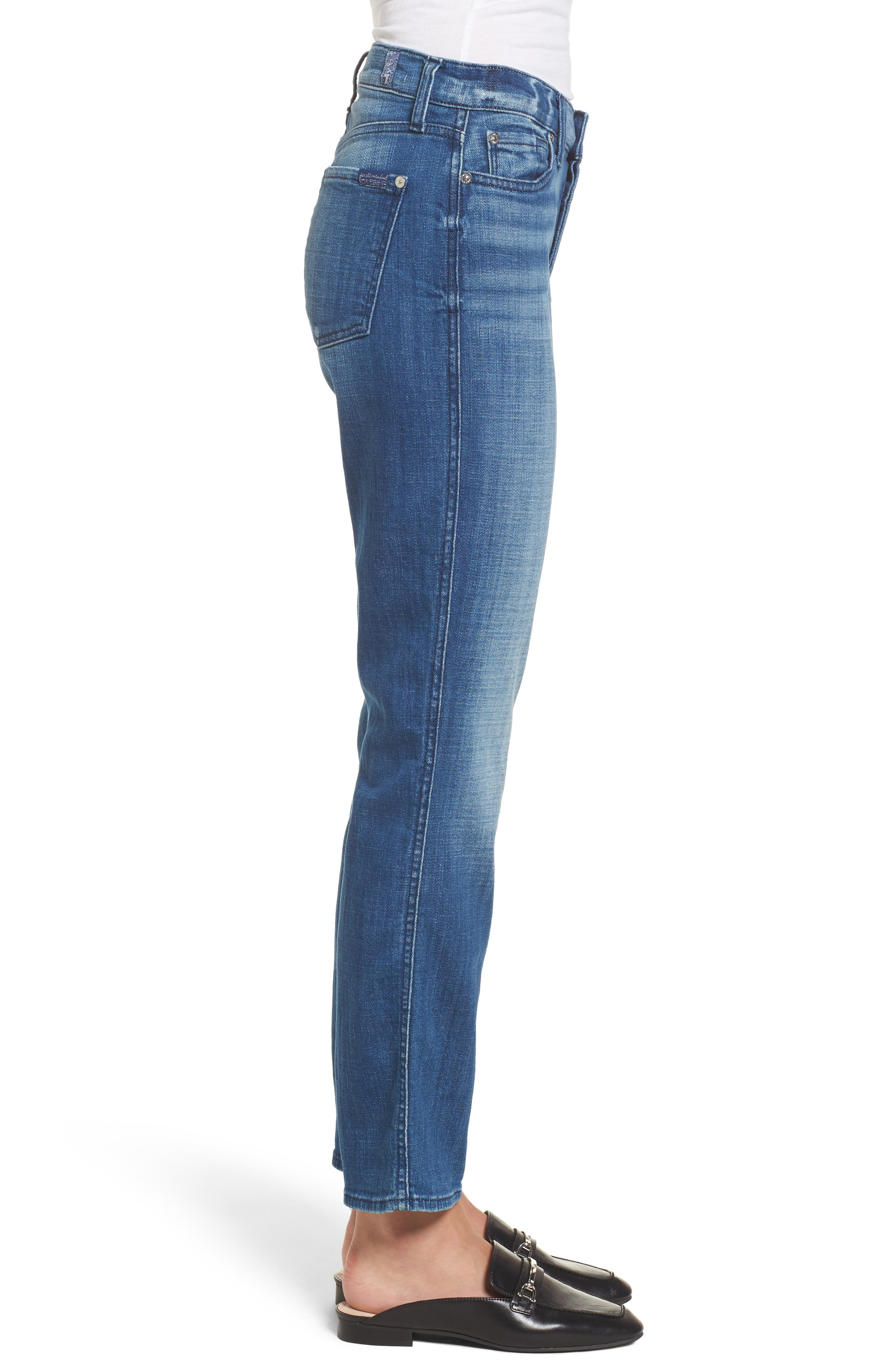 Edie High Waist Crop Jeans,                             Alternate thumbnail 3, color,                             400