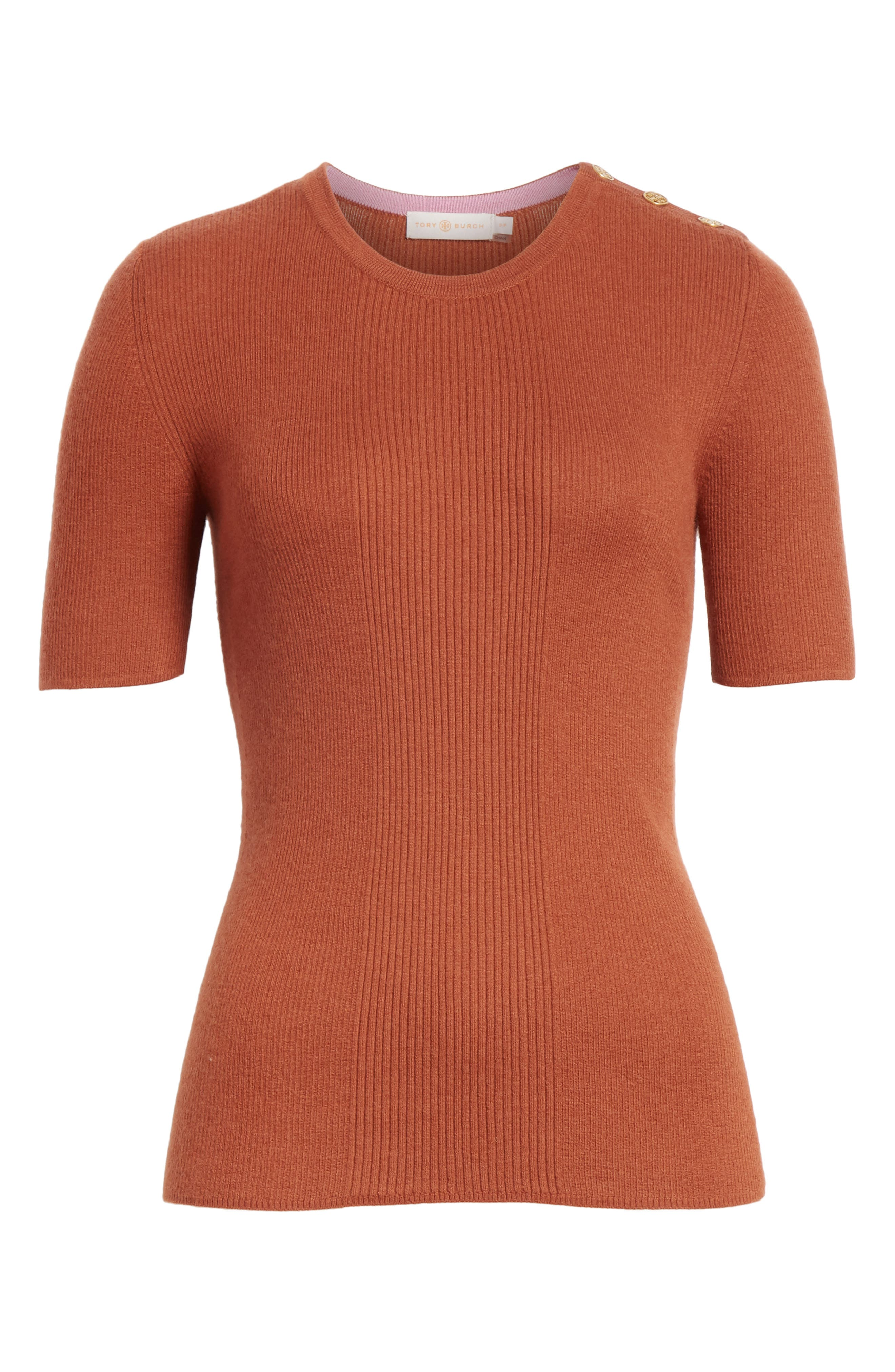 Taylor Ribbed Cashmere Sweater,                             Alternate thumbnail 6, color,                             DESERT SPICE