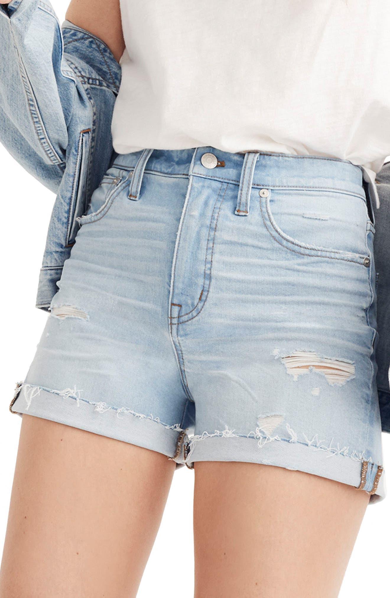 High Waist Denim Cutoff Shorts,                         Main,                         color, 400