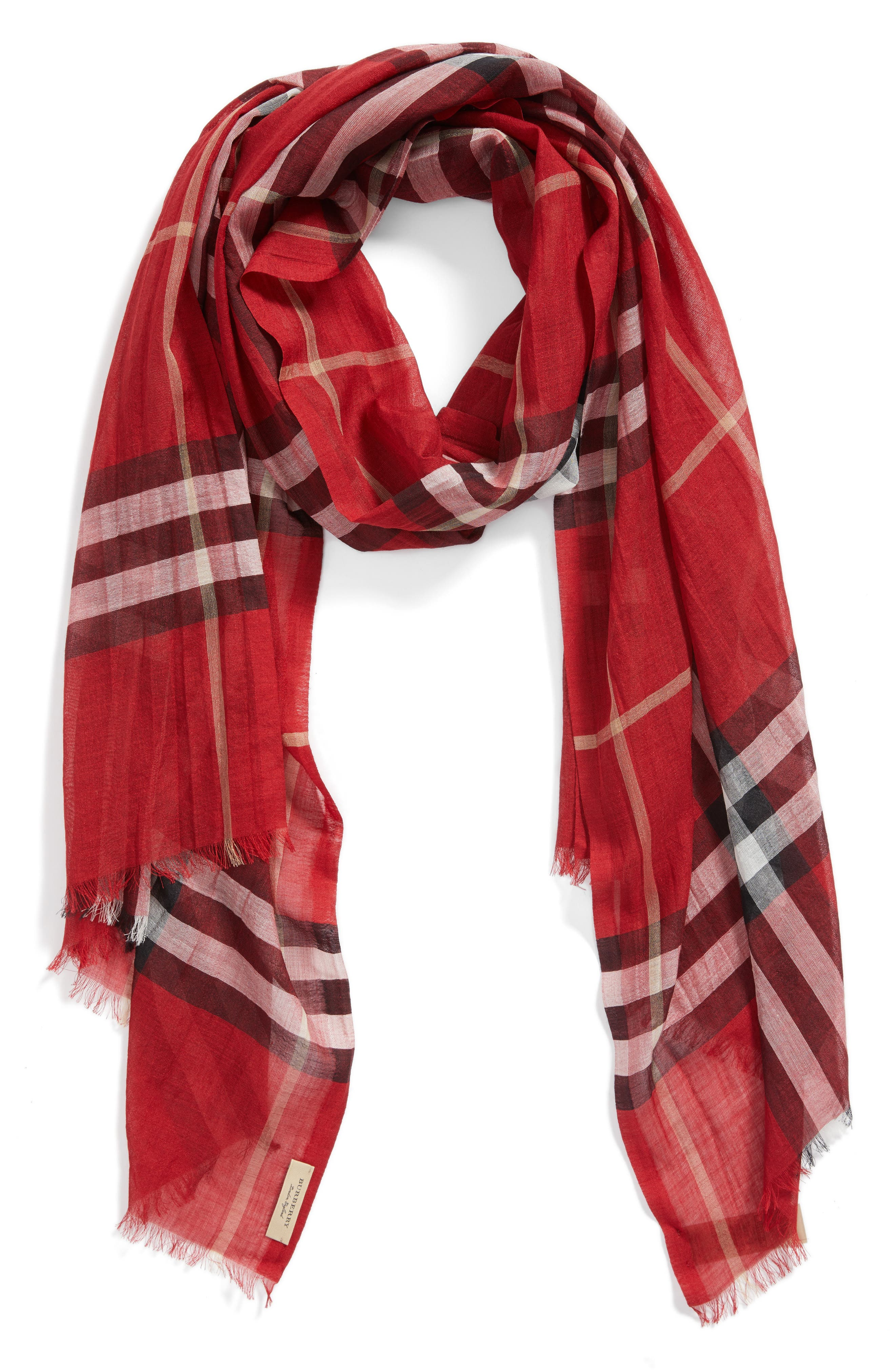 Giant Check Print Wool & Silk Scarf,                             Alternate thumbnail 145, color,