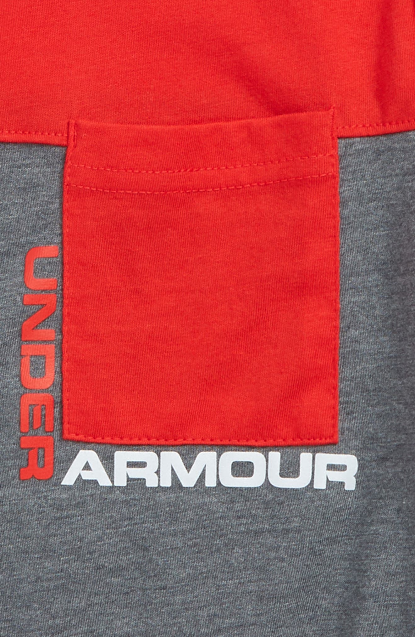 UNDER ARMOUR,                             Pieced Pocket HeatGear<sup>®</sup> T-Shirt,                             Alternate thumbnail 2, color,                             RED