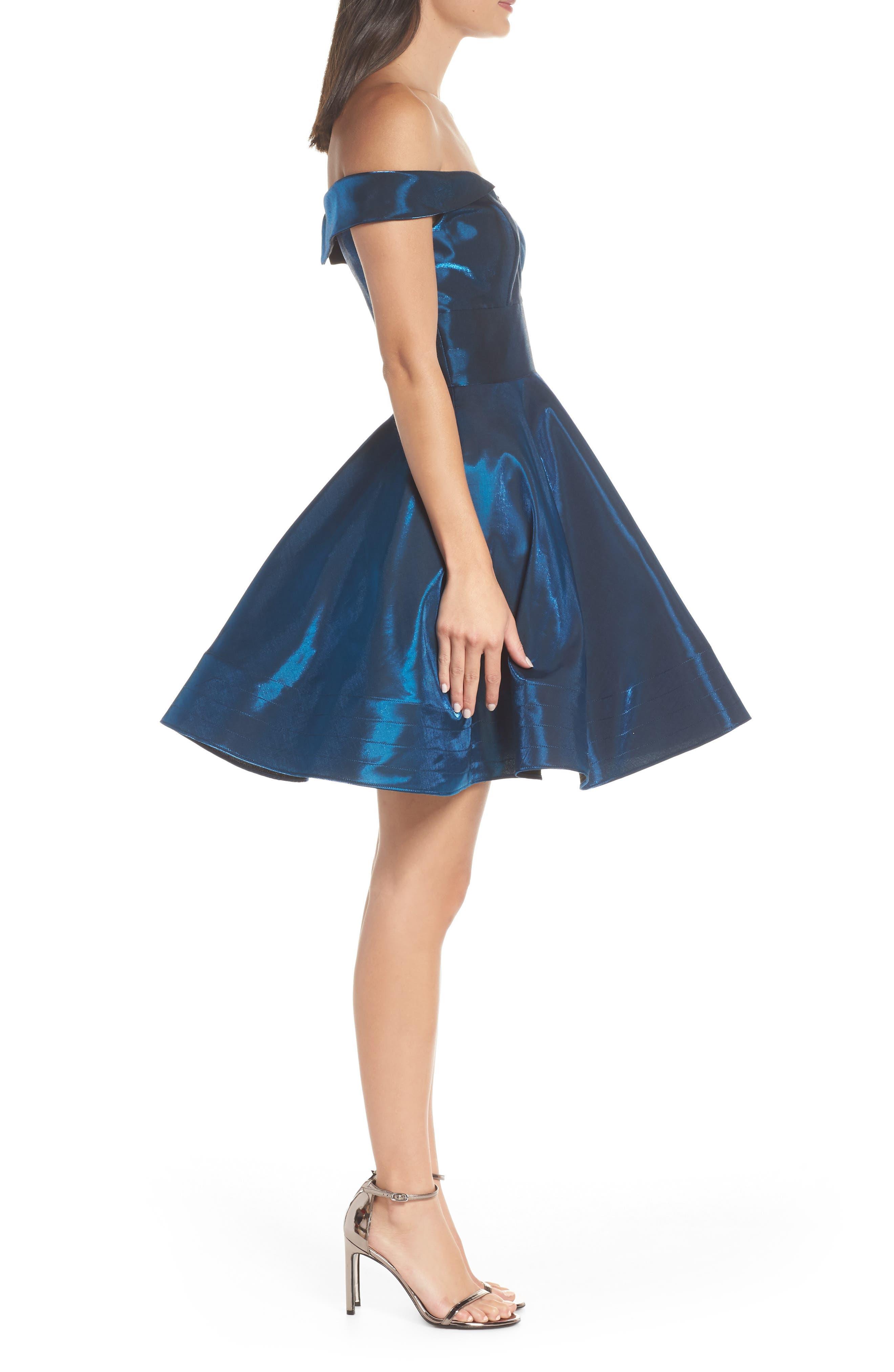 Off the Shoulder Shimmer Party Dress,                             Alternate thumbnail 3, color,                             450