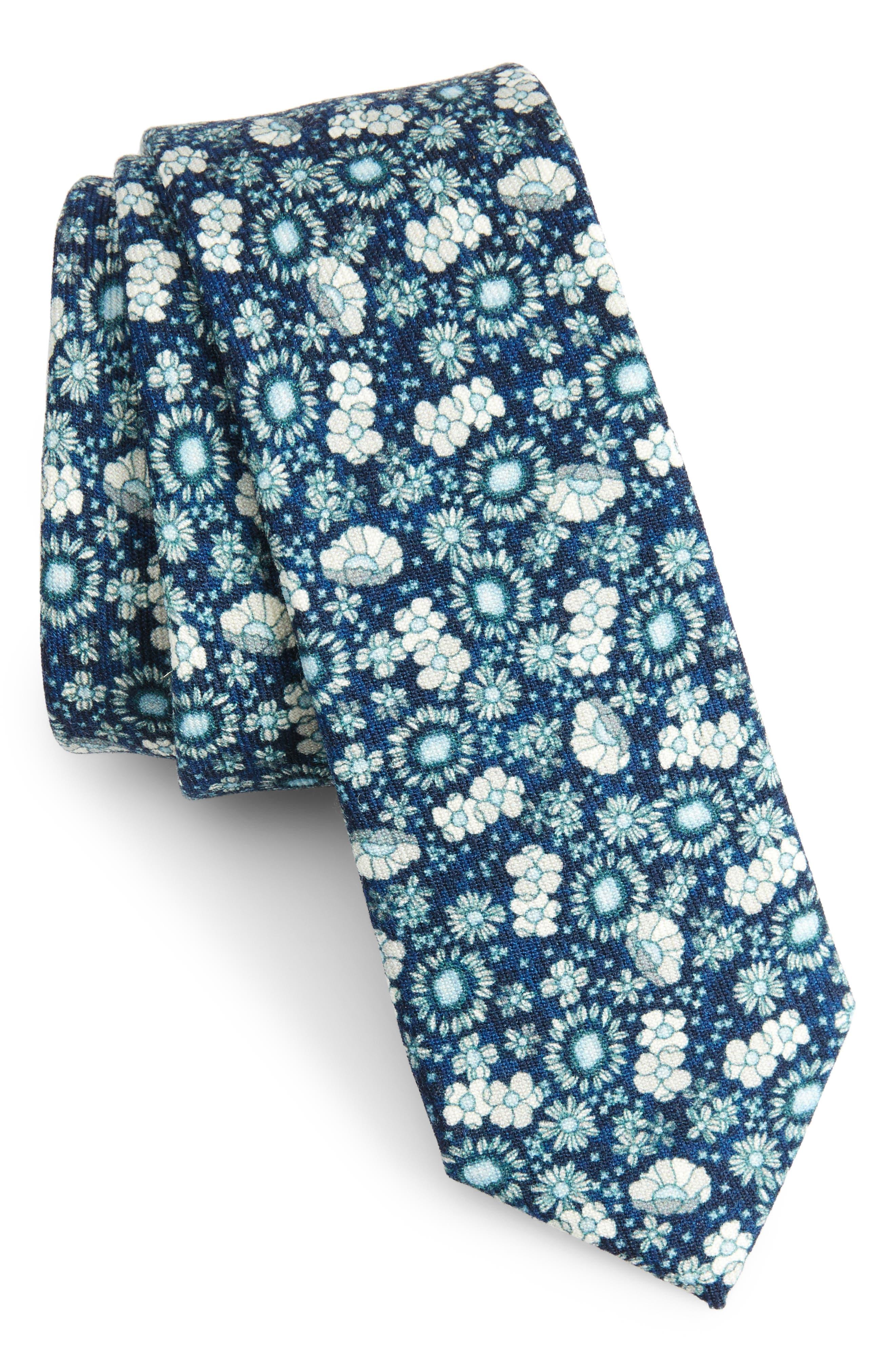 Flower City Wool Skinny Tie,                             Main thumbnail 2, color,