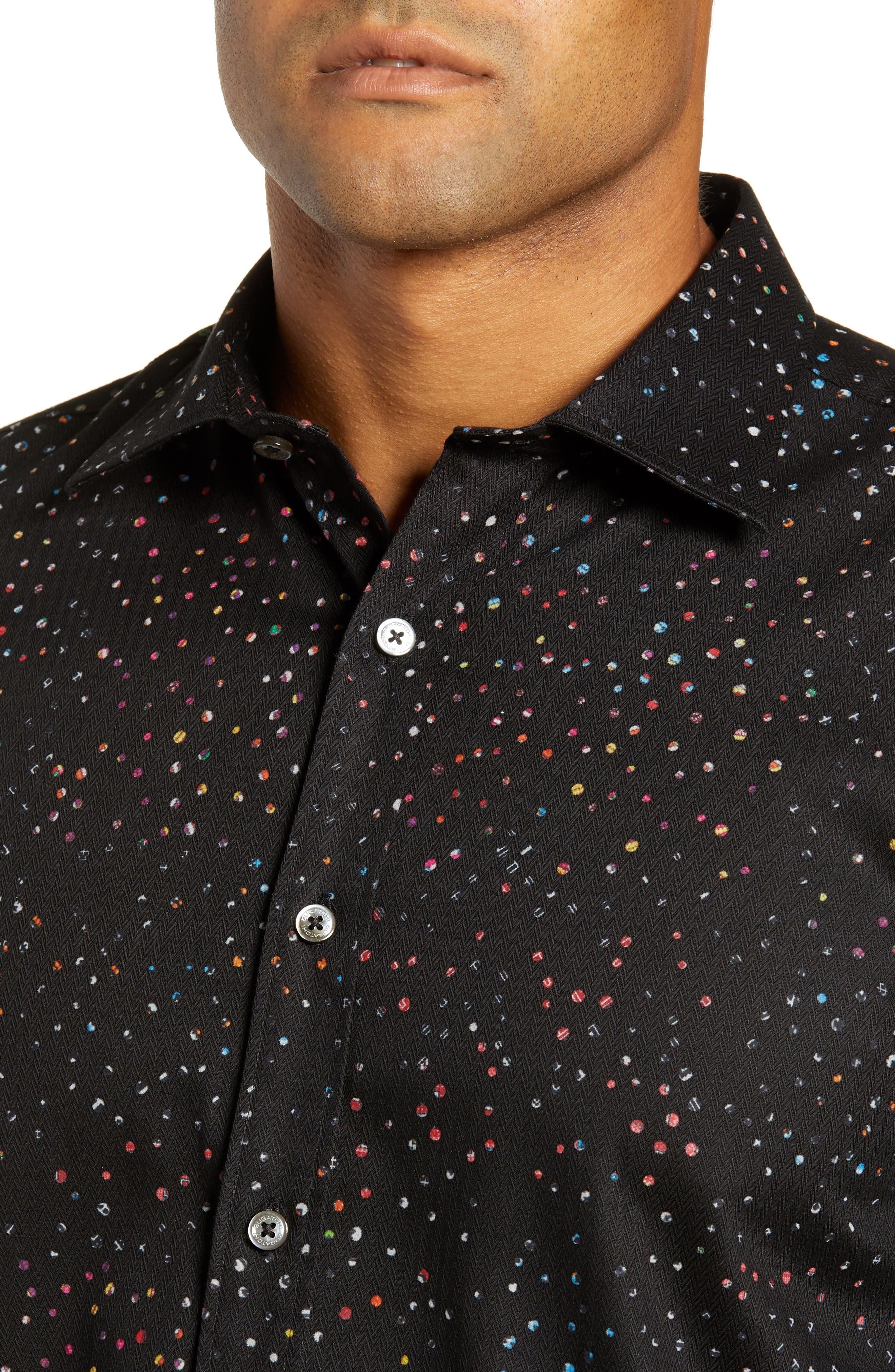 Shaped Fit Dot Sport Shirt,                             Alternate thumbnail 2, color,                             BLACK