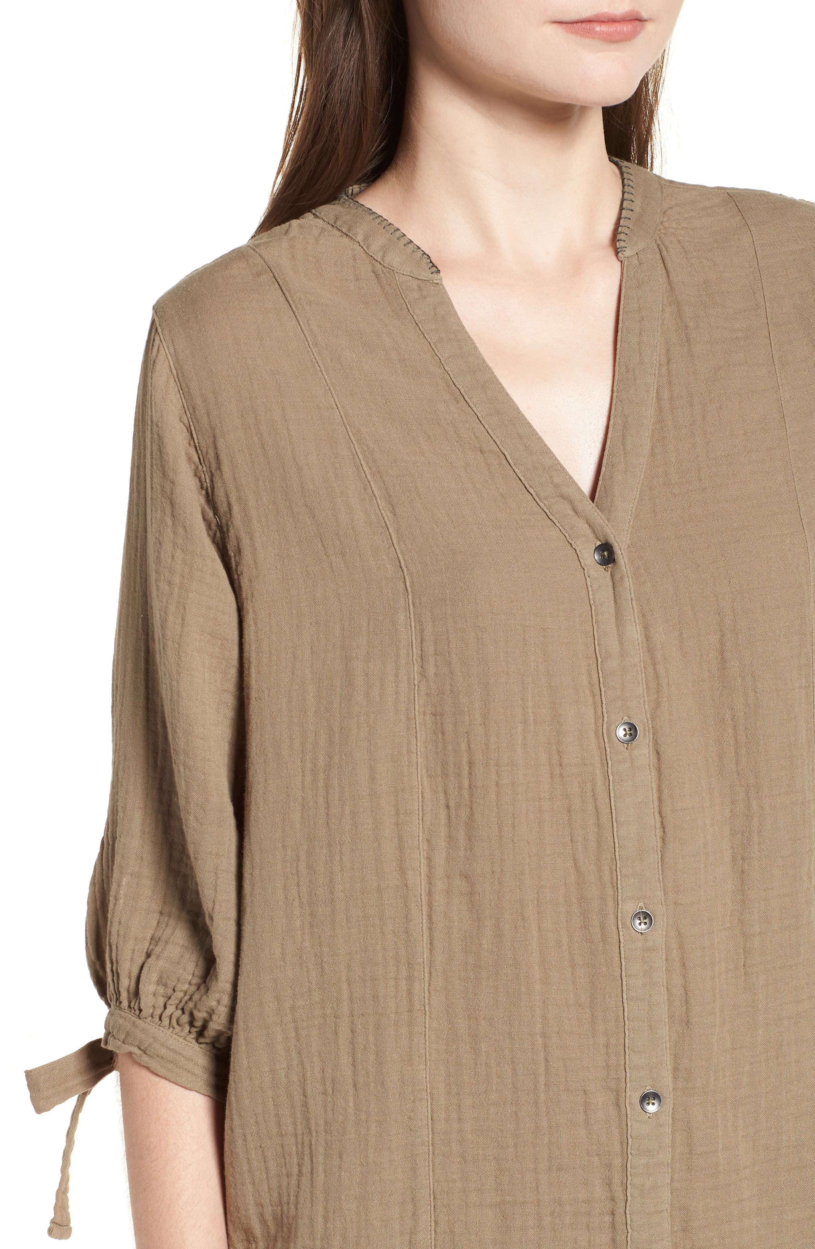 Whipstitch Tie Sleeve Shirtdress,                             Alternate thumbnail 4, color,                             OLIVE