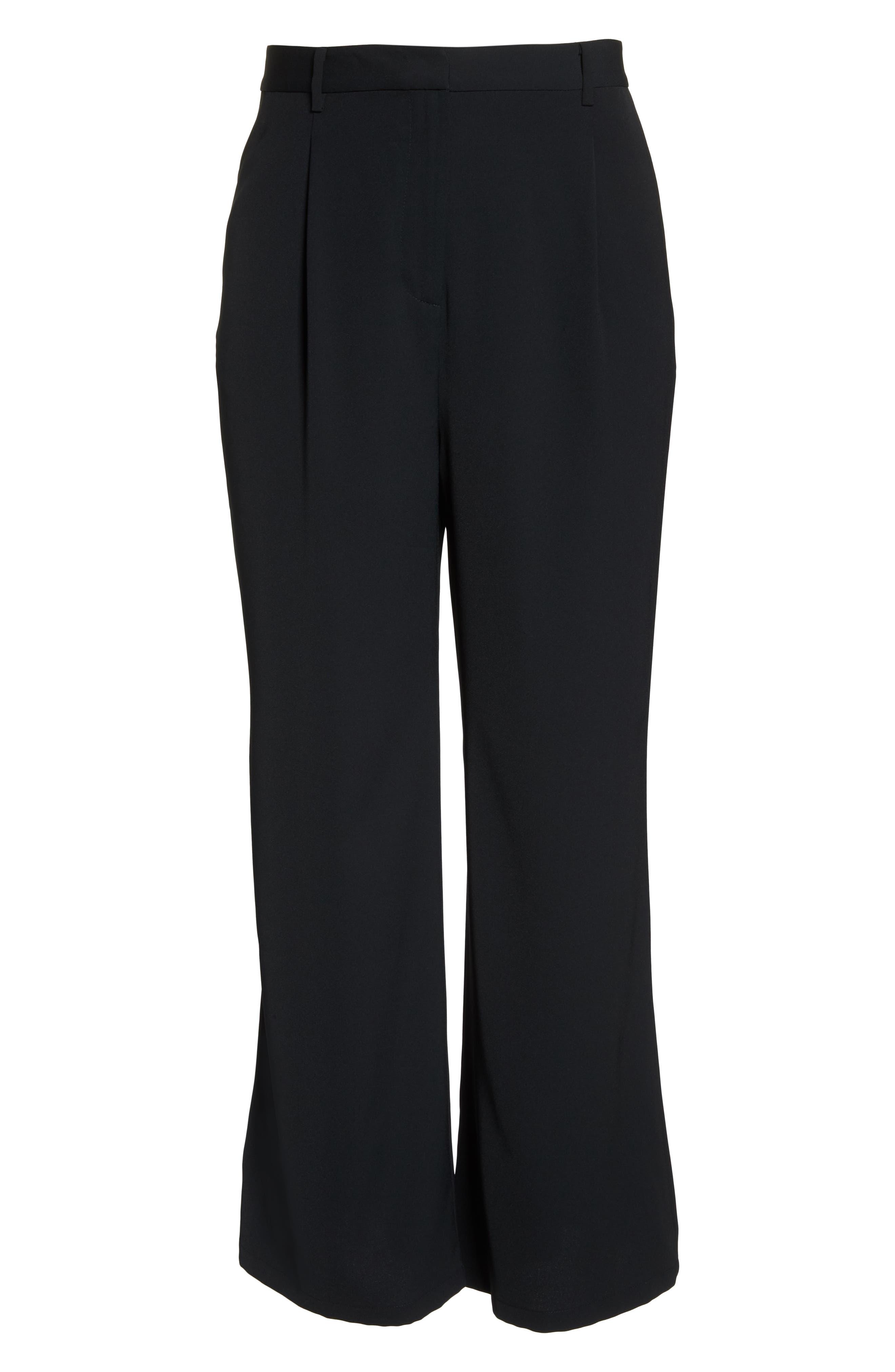 High Waist Flare Pants,                             Alternate thumbnail 12, color,                             BLACK