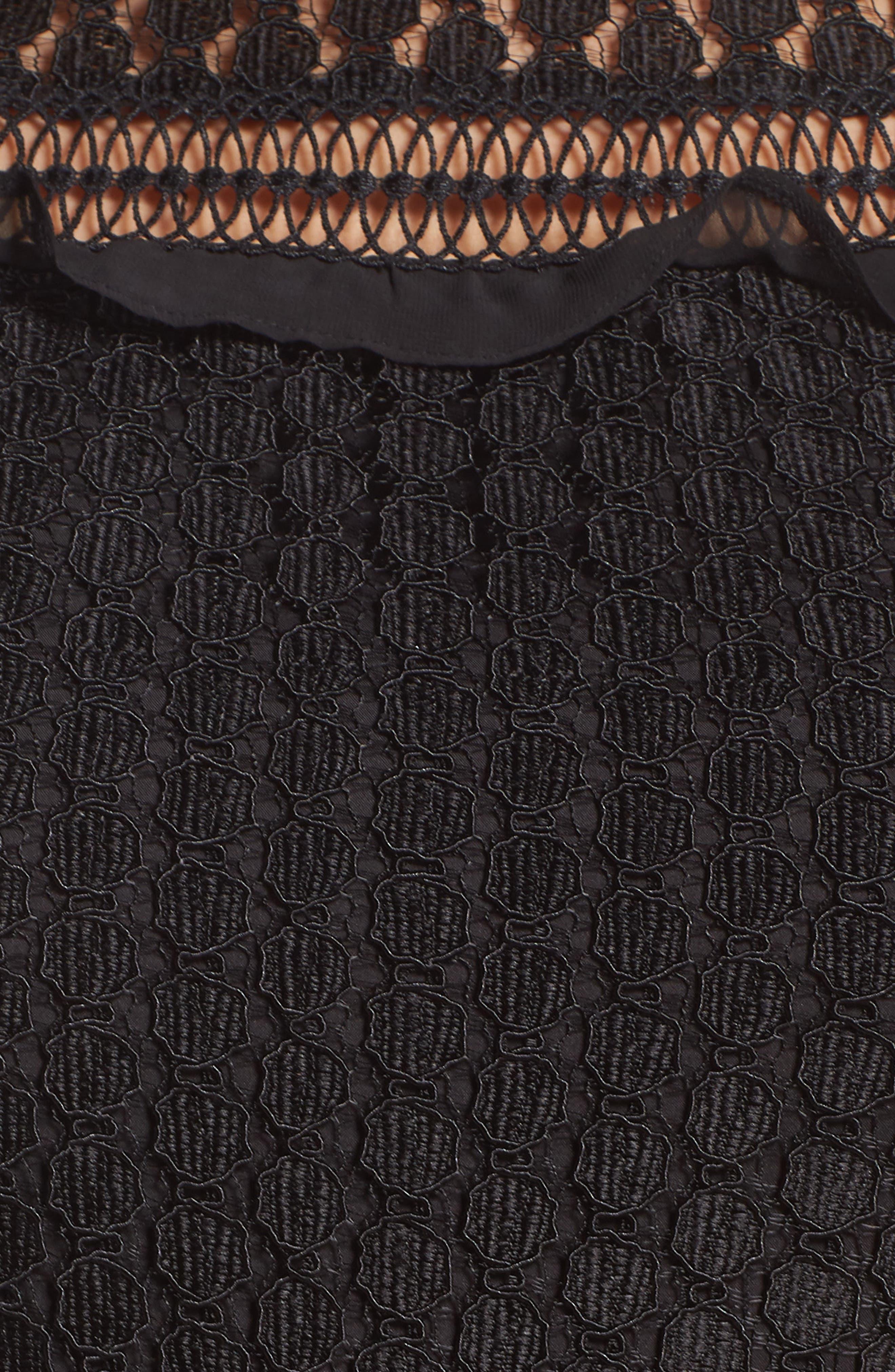 Lace Crop Jumpsuit,                             Alternate thumbnail 6, color,                             BLACK