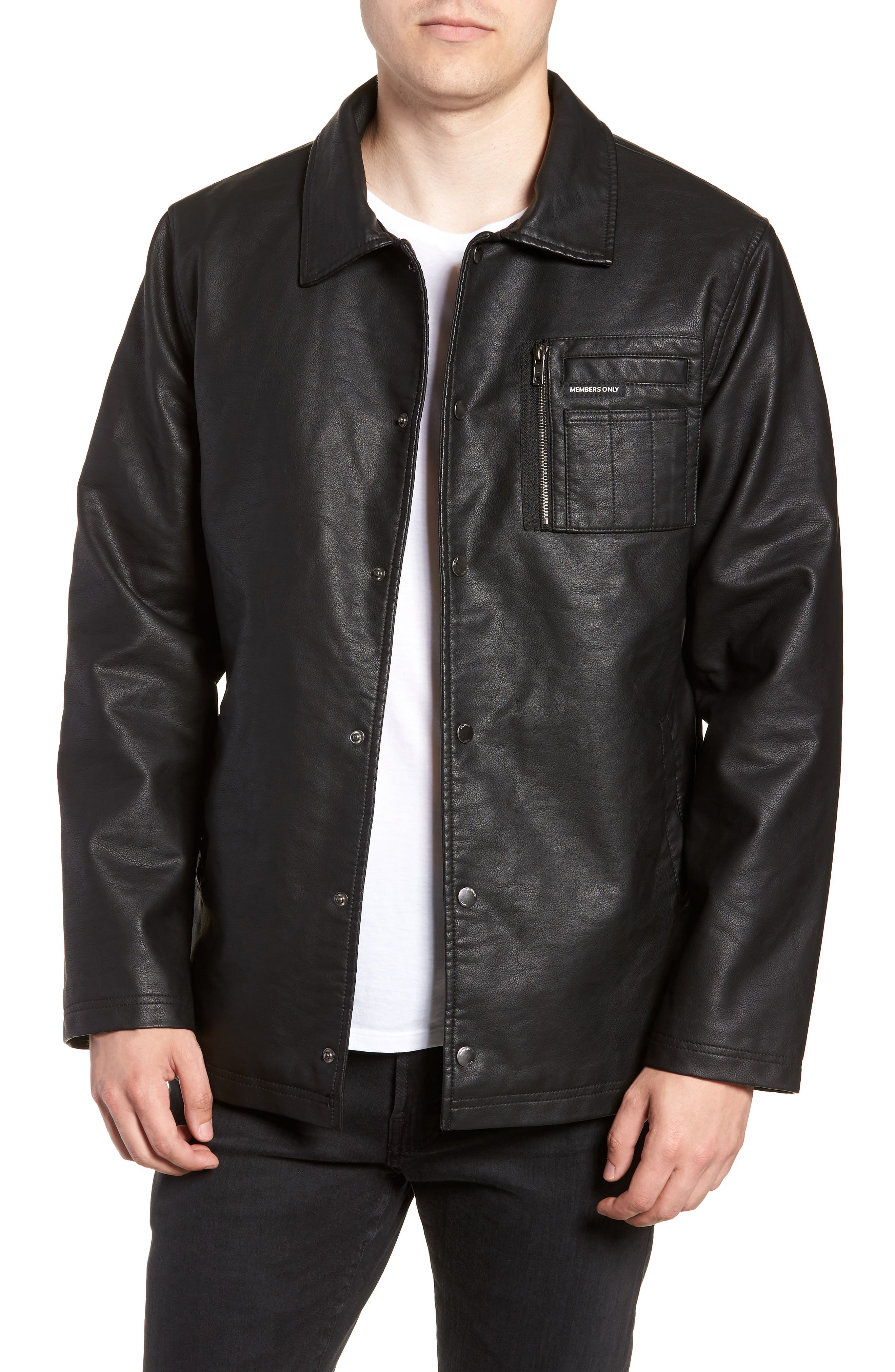 Logo Embossed Faux Leather Jacket,                         Main,                         color, 001