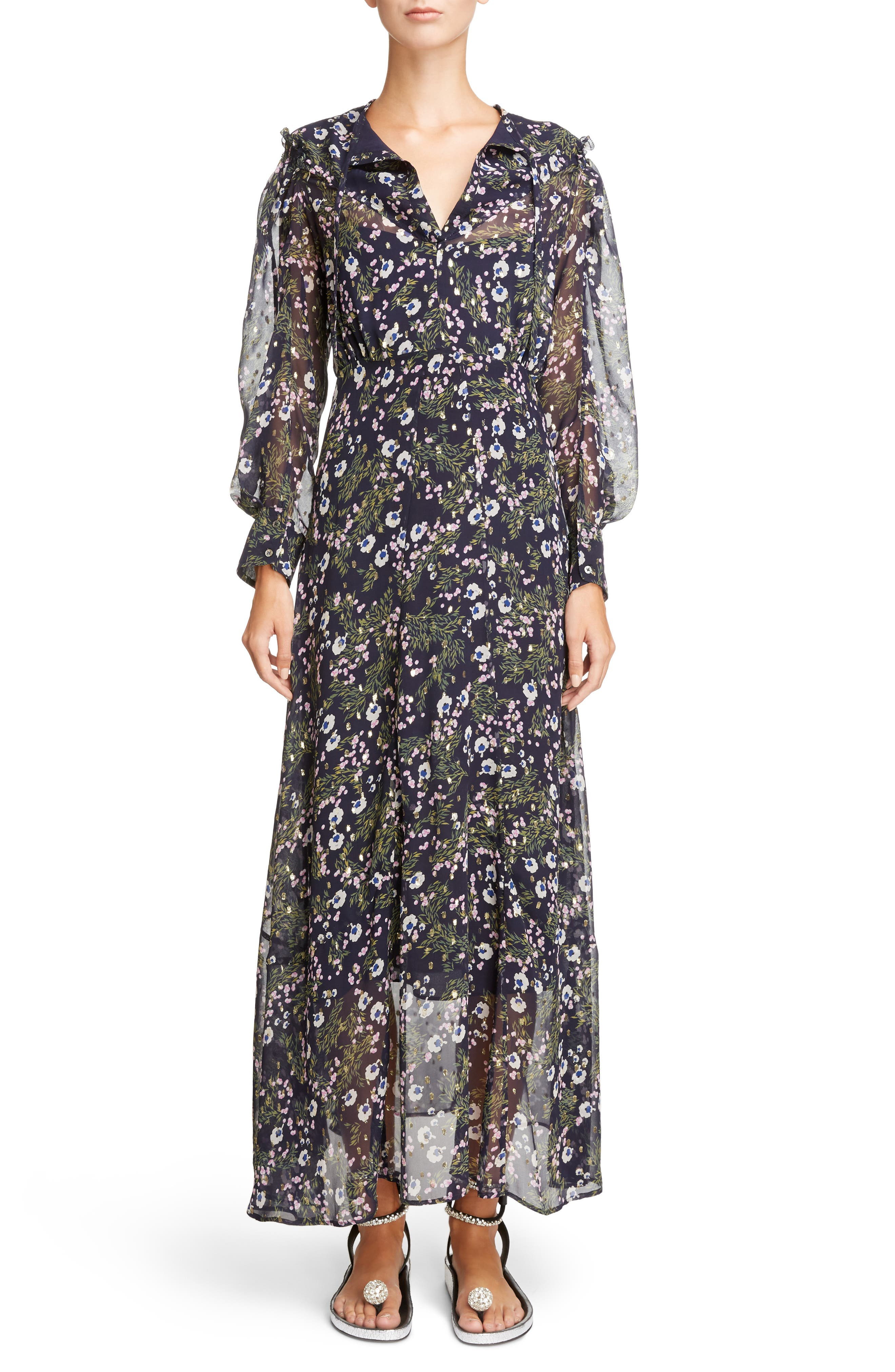 Metallic Bloom Silk Maxi Dress,                             Main thumbnail 1, color,                             MIDNIGHT