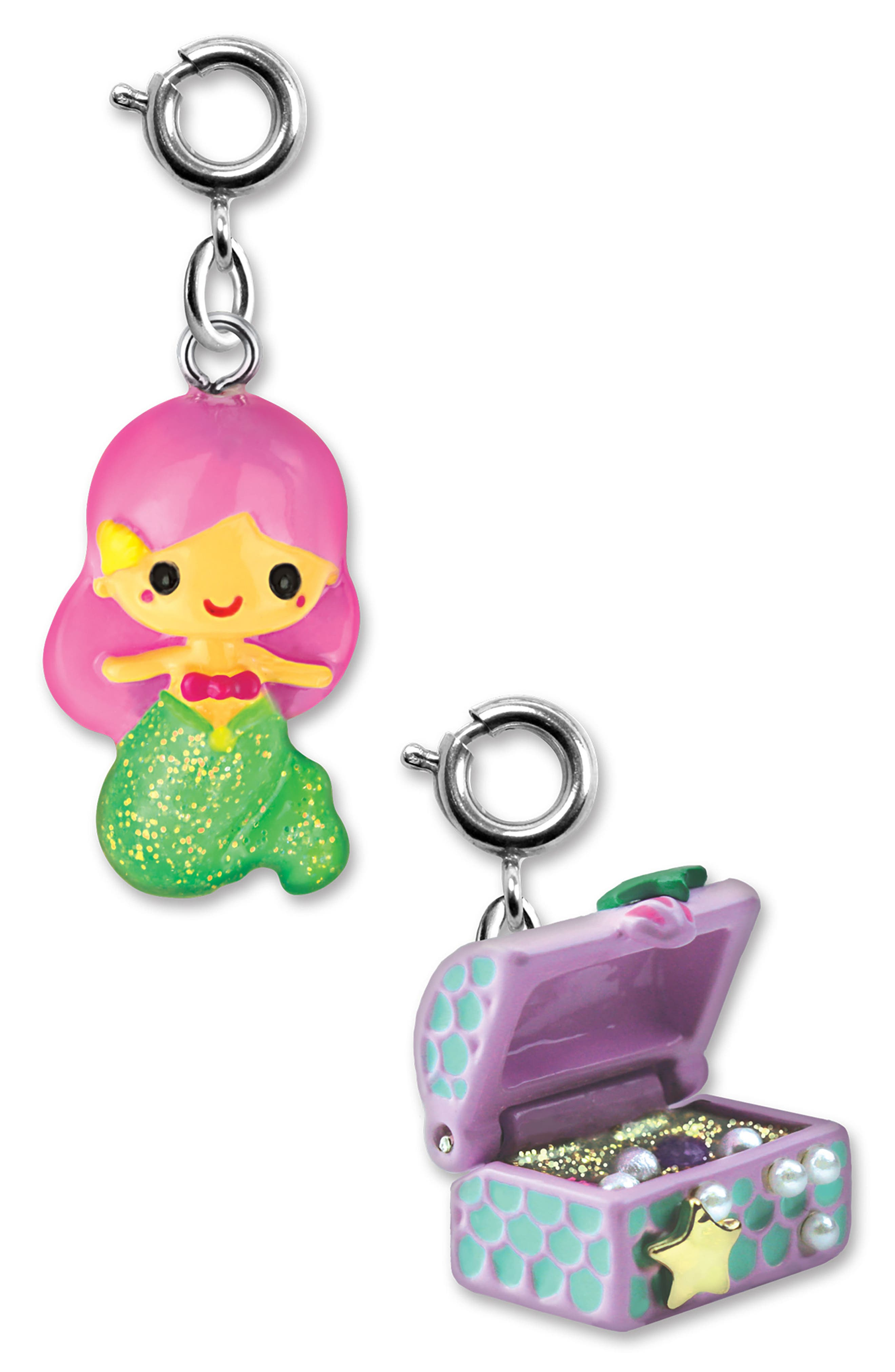CHARM IT!<sup>®</sup> 2-Pack Mermaid & Treasure Chest Charms,                         Main,                         color, MULTI