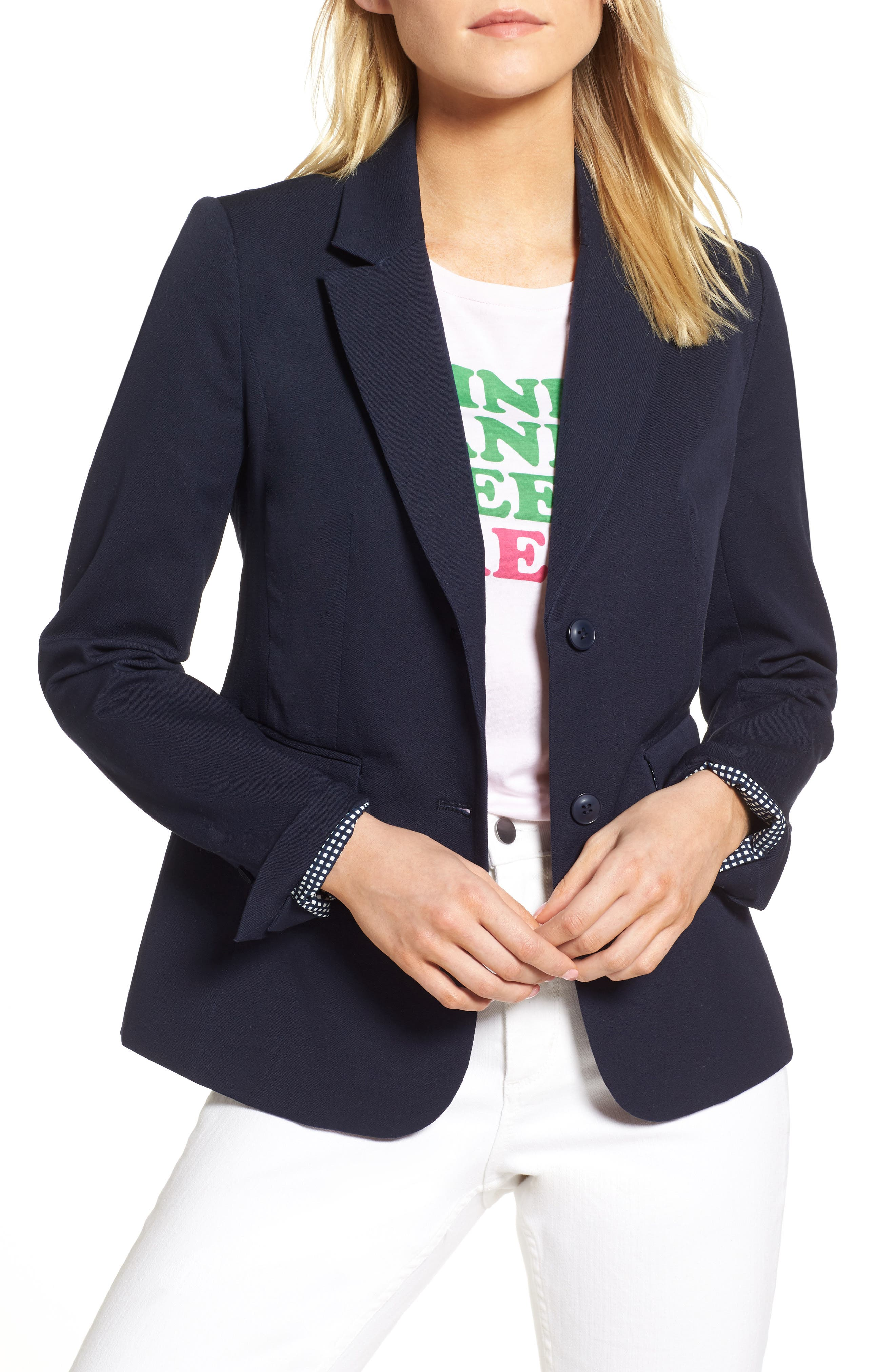 Stretch Cotton Twill Blazer,                             Main thumbnail 1, color,                             NAVY NIGHT