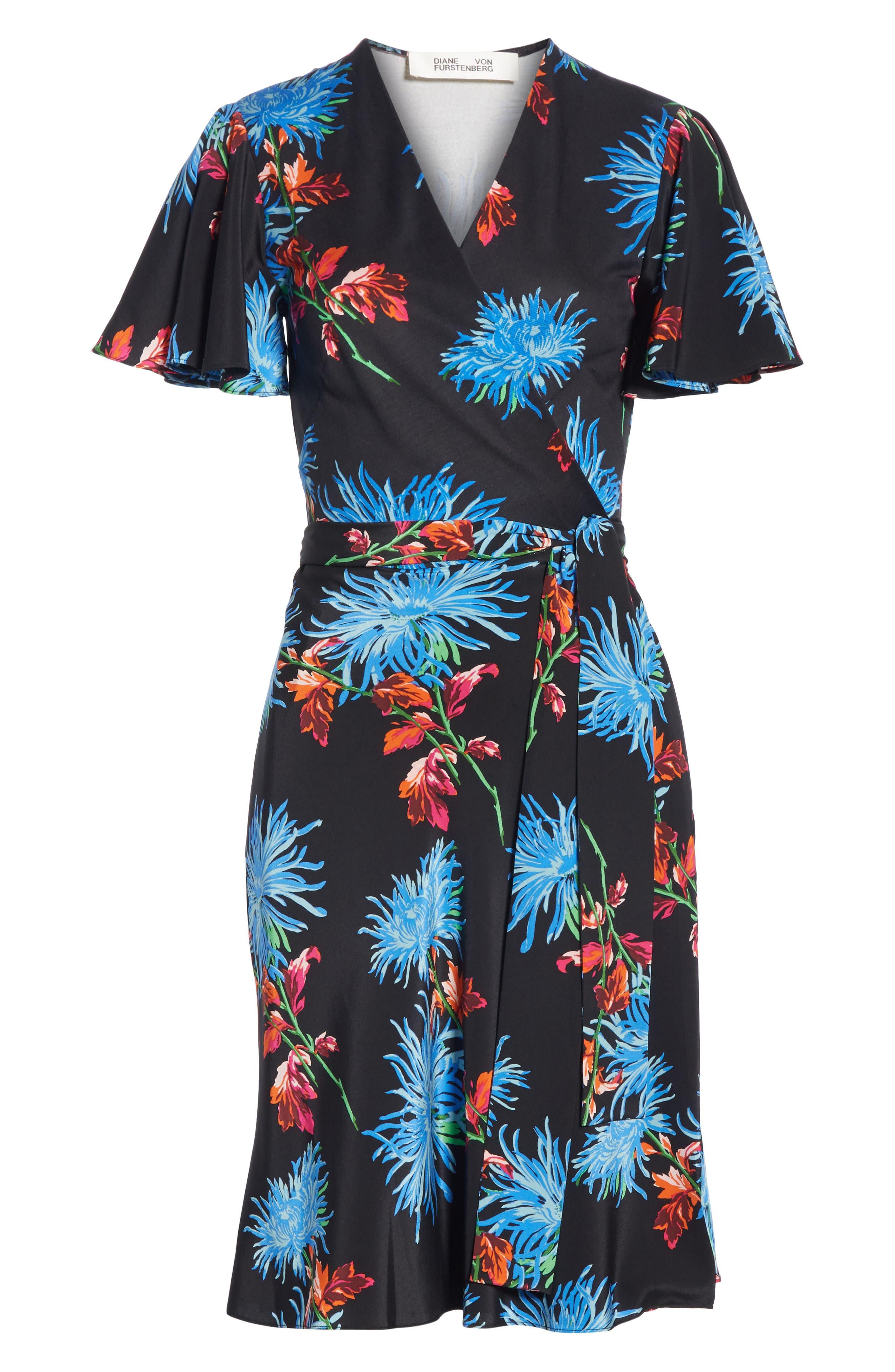 Diane von Furstenberg Flutter Sleeve Silk Wrap Dress,                             Alternate thumbnail 6, color,                             HEWES BLACK