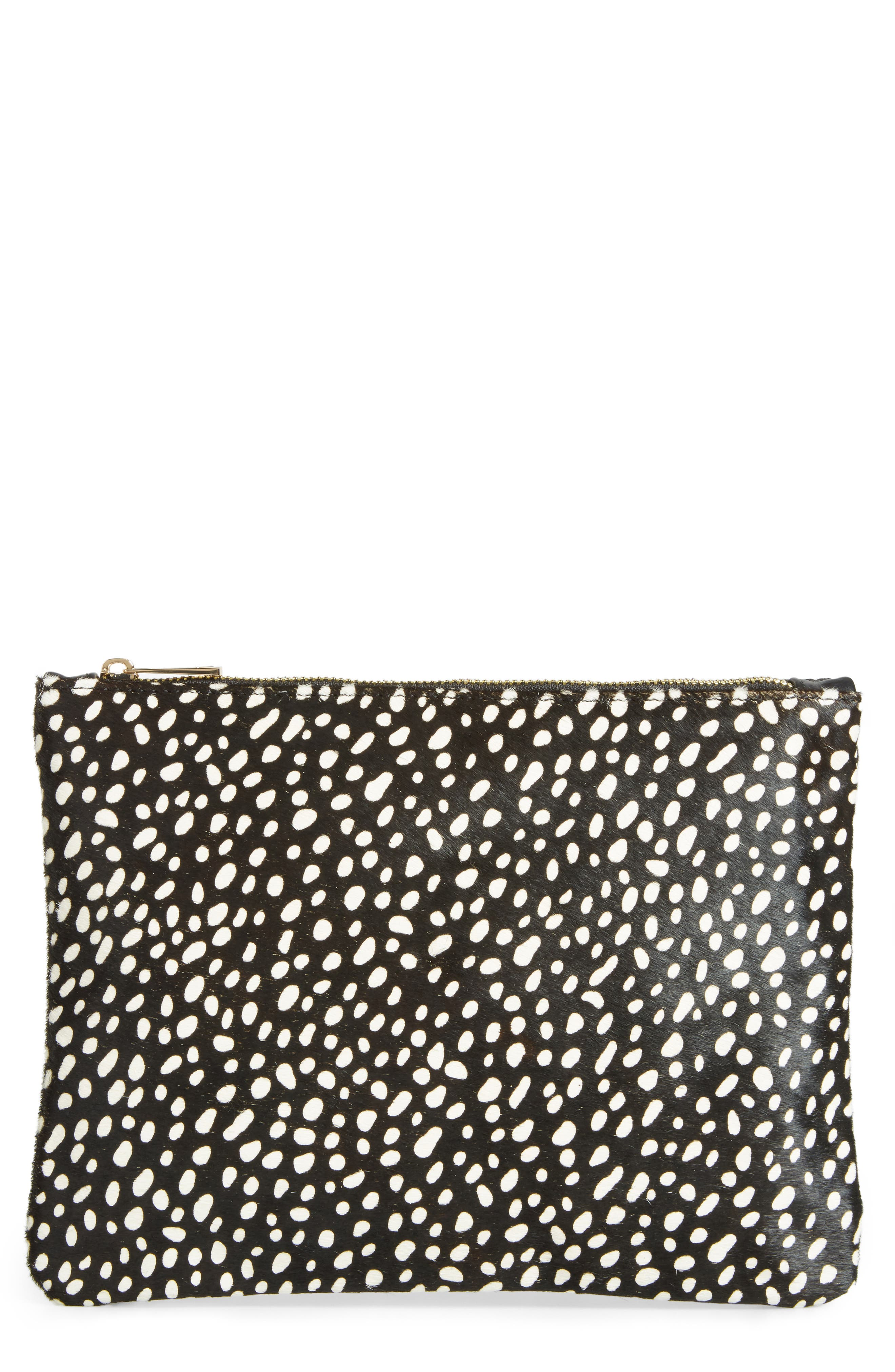 'Dolce' Genuine Calf Hair Clutch,                         Main,                         color, 001