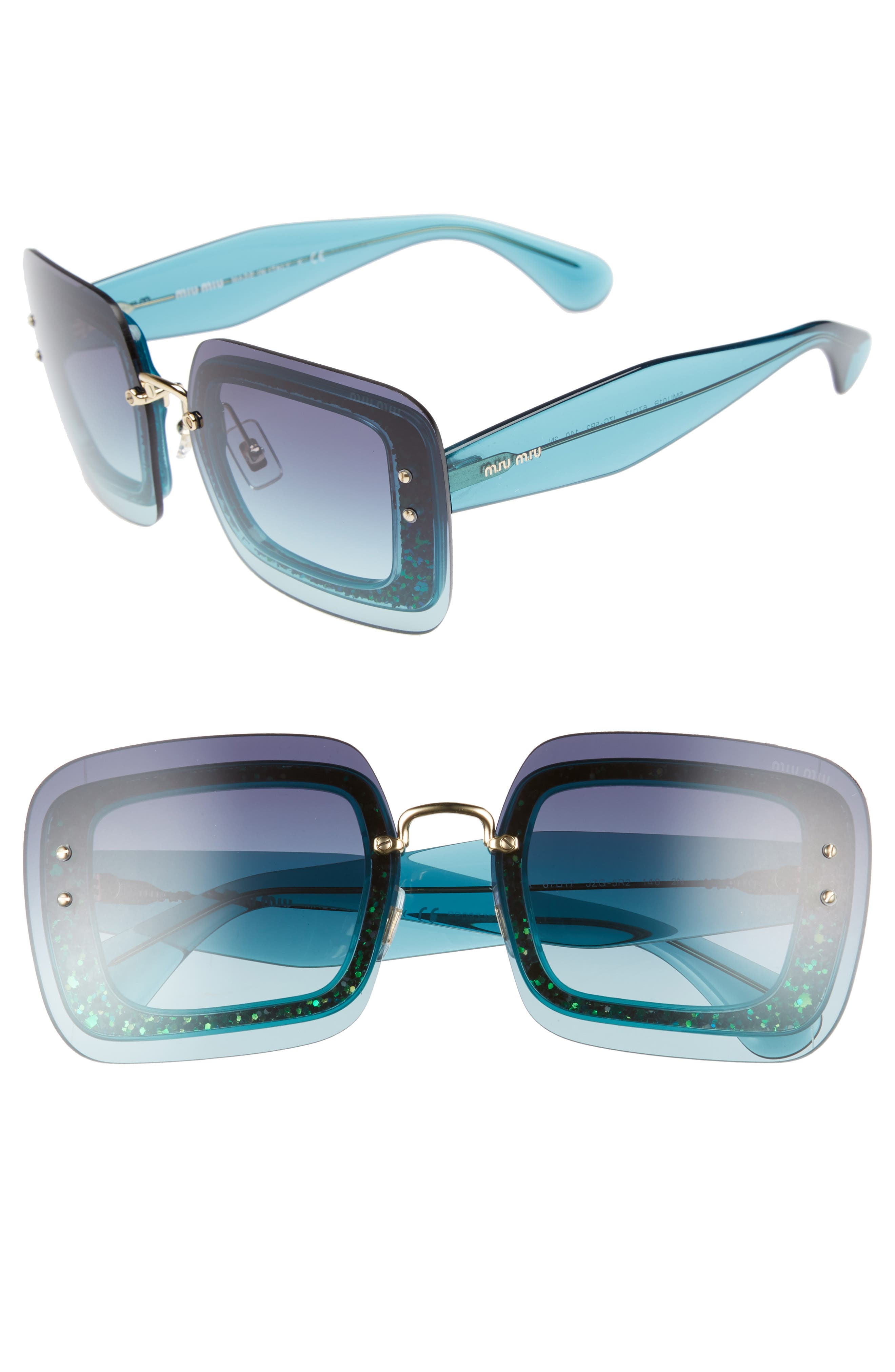 67mm Square Sunglasses,                             Main thumbnail 1, color,                             TURQUOISE GRADIENT