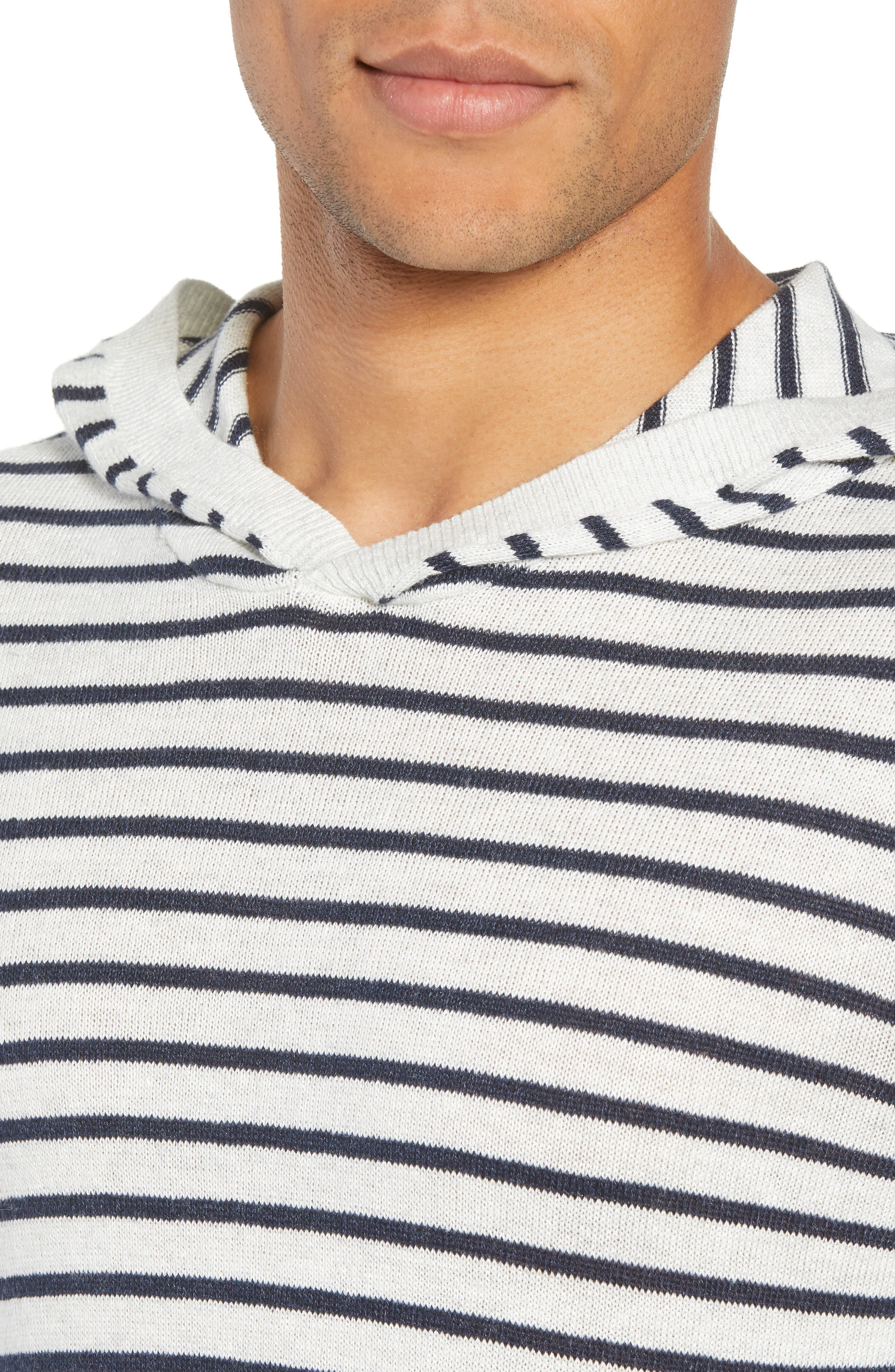 Stripe Hoodie,                             Alternate thumbnail 4, color,                             H WHITE/ H NEW COASTAL