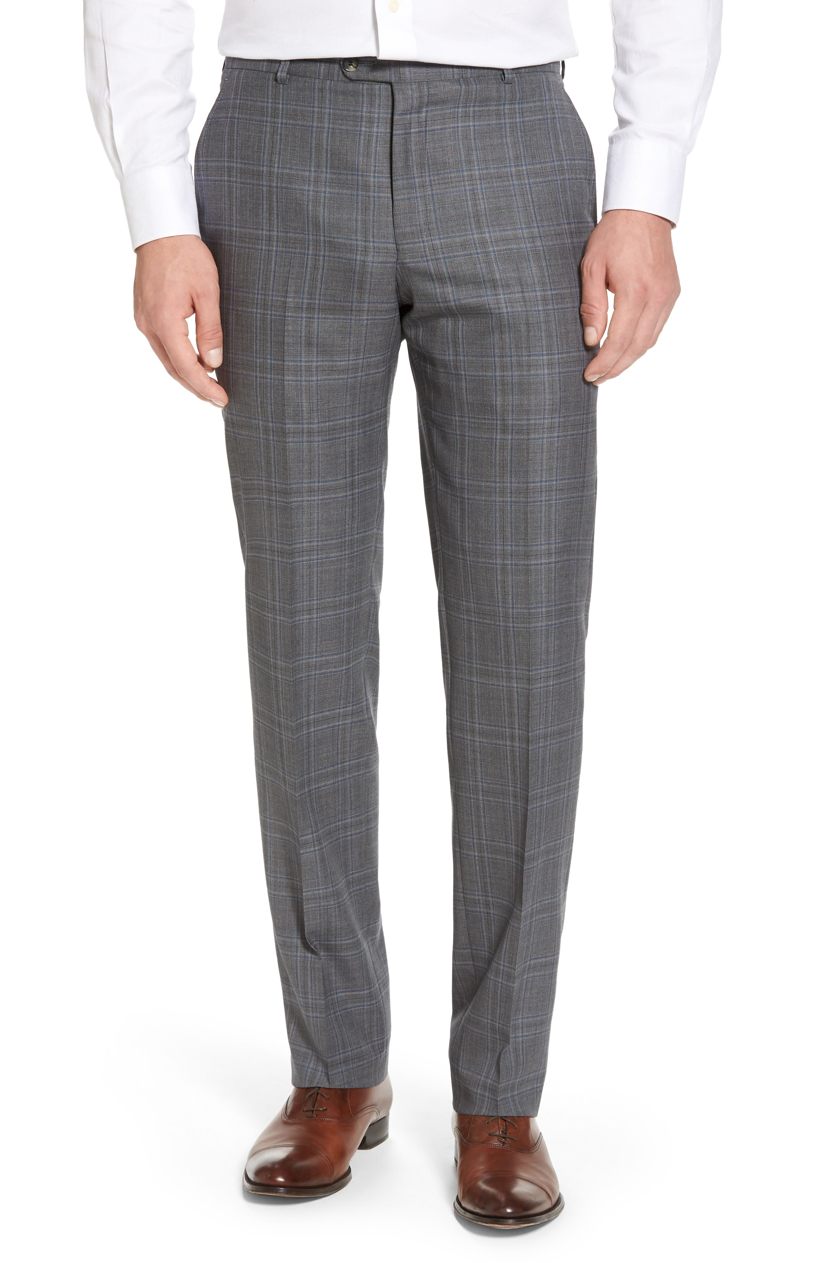 Classic B Fit Plaid Wool Suit,                             Alternate thumbnail 6, color,                             060