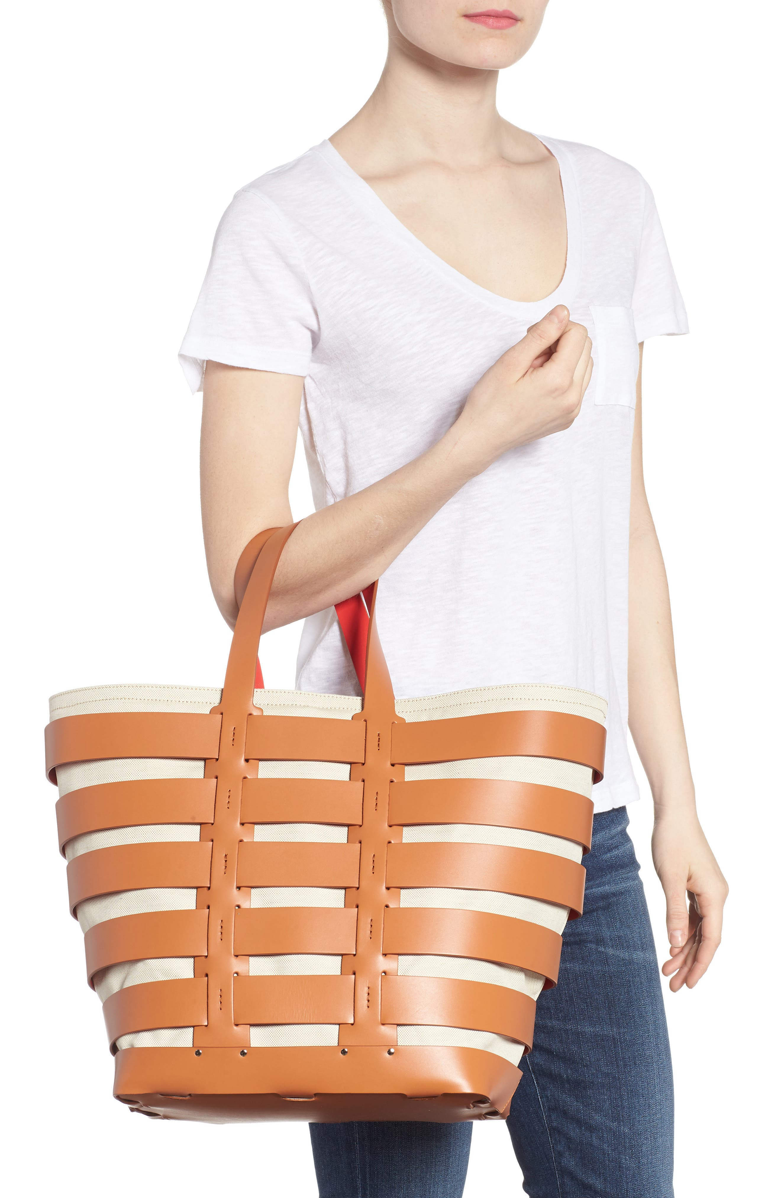 Cage Leather & Canvas Tote,                             Alternate thumbnail 2, color,                             CAMEL