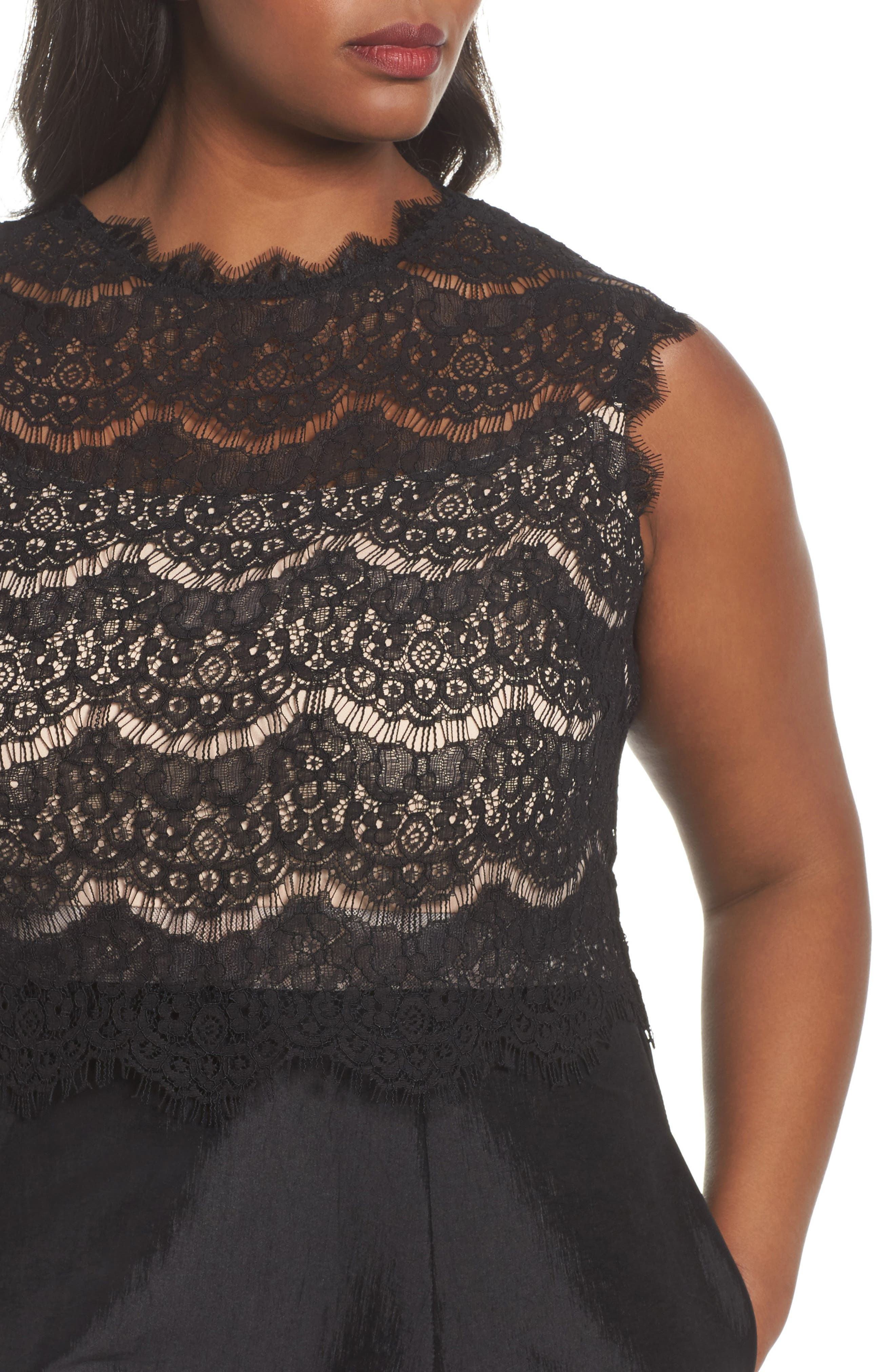 Lace & Taffeta Gown,                             Alternate thumbnail 4, color,                             BLACK
