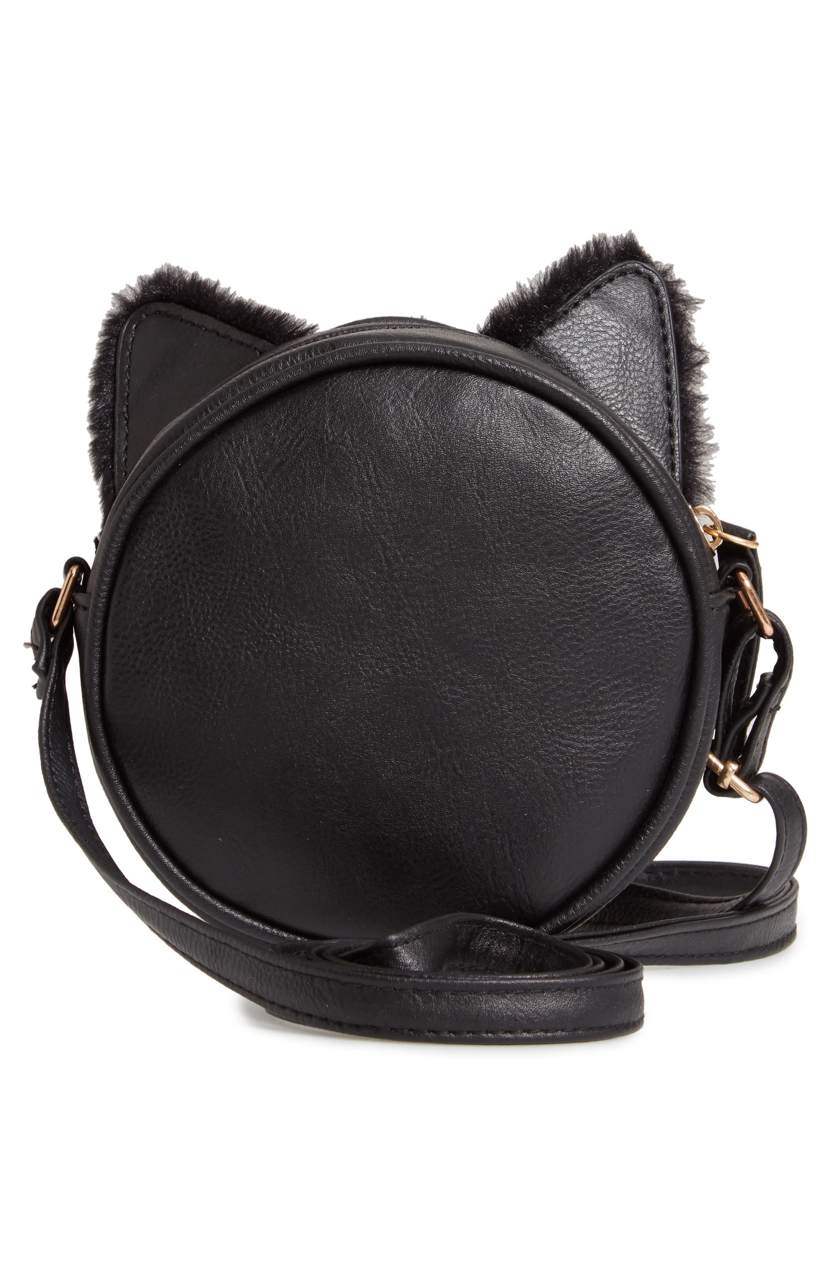 Faux Fur Kitty Crossbody Bag,                             Alternate thumbnail 2, color,                             001