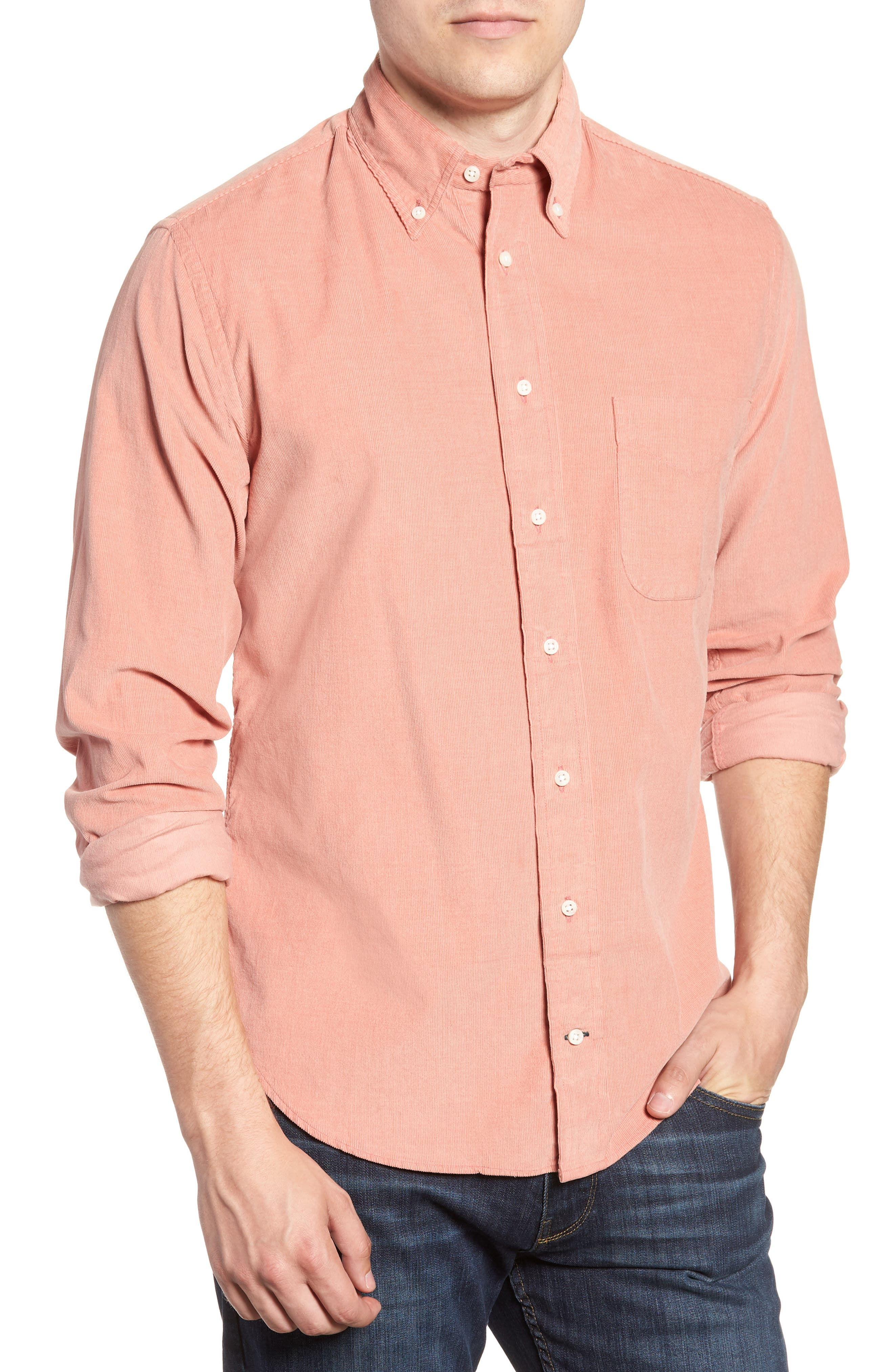 Regular Fit Corduroy Shirt,                         Main,                         color, PINK