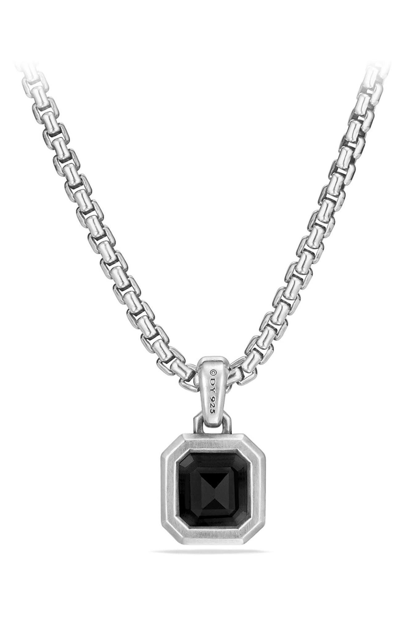 Emerald Cut Semiprecious Stone Amulet,                             Alternate thumbnail 3, color,                             SILVER/ BLACK ONYX
