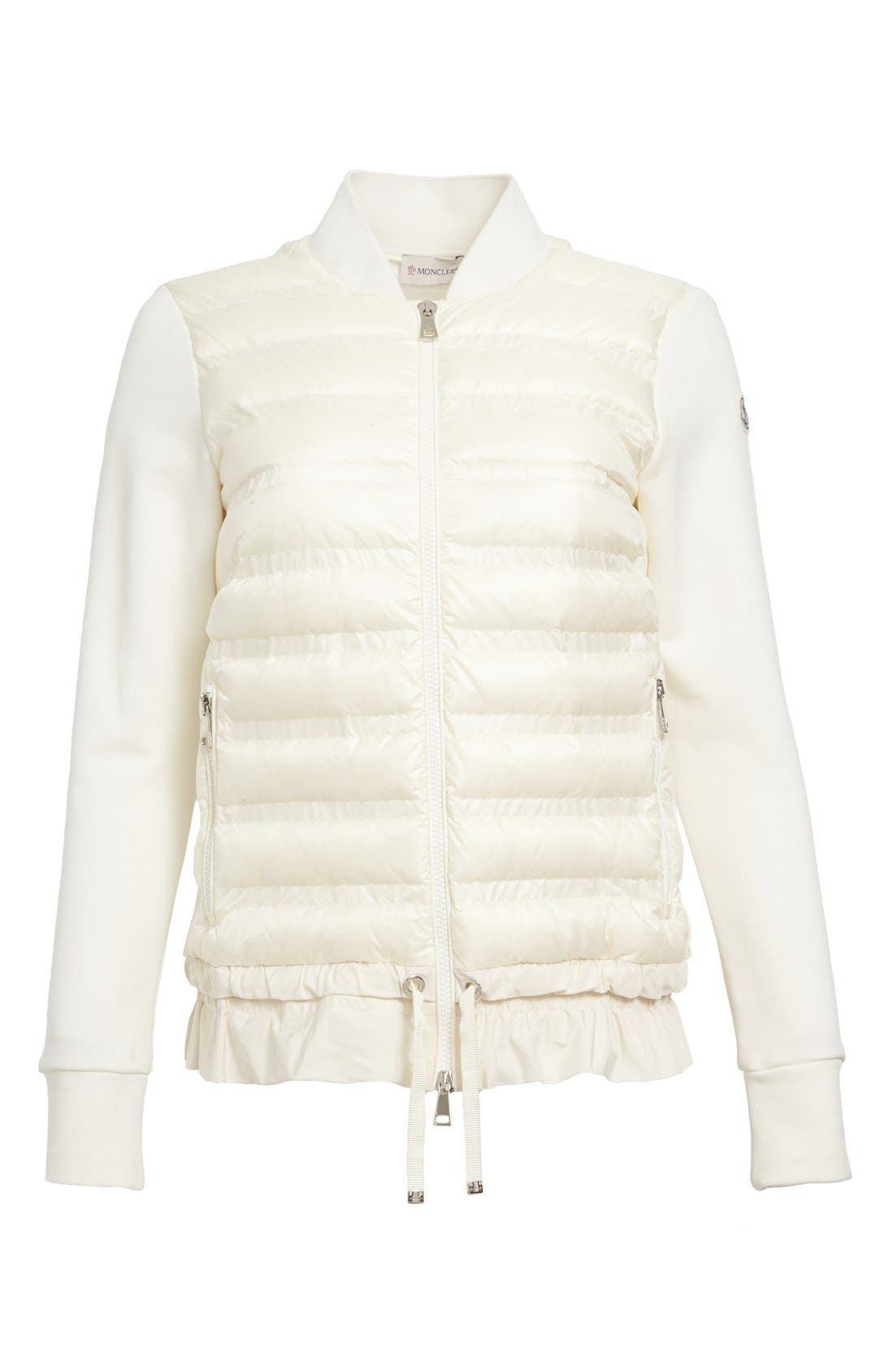 Maglia Quilted Down Front Tricot Bomber,                             Alternate thumbnail 3, color,                             NATURAL