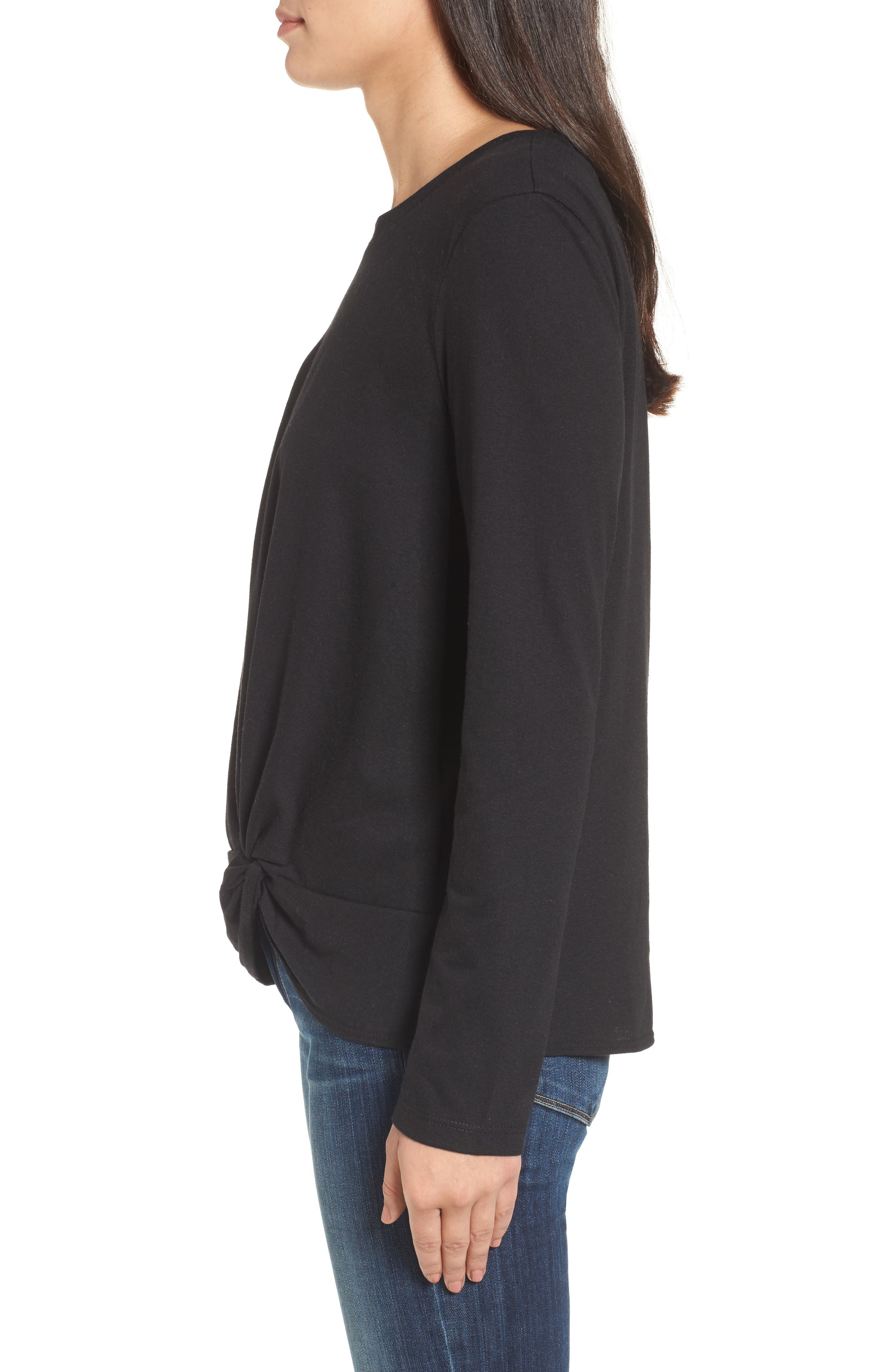 Long Sleeve Front Knot Tee,                             Alternate thumbnail 3, color,                             BLACK