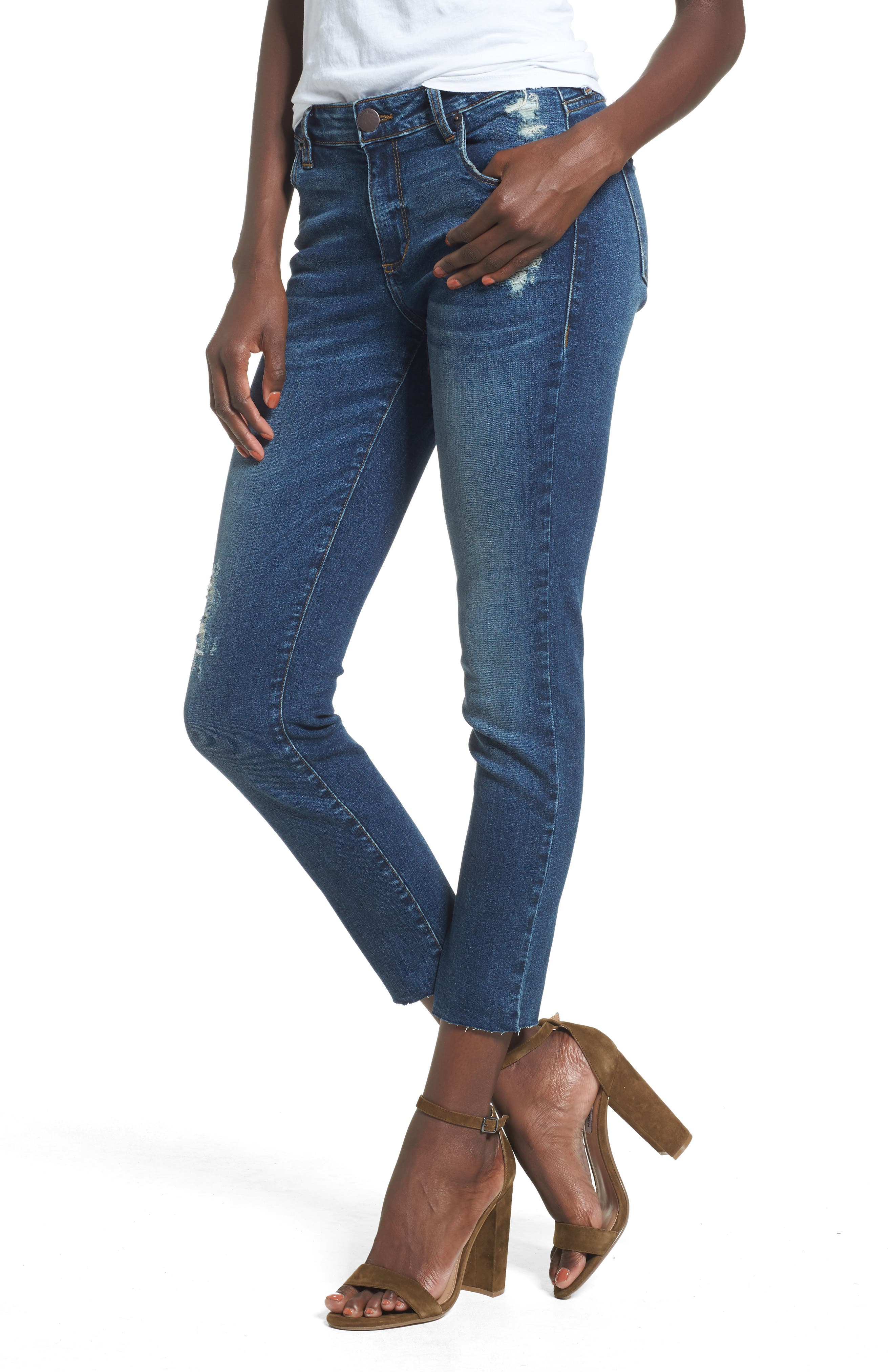 Distressed Ankle Straight Leg Jeans,                         Main,                         color, 400