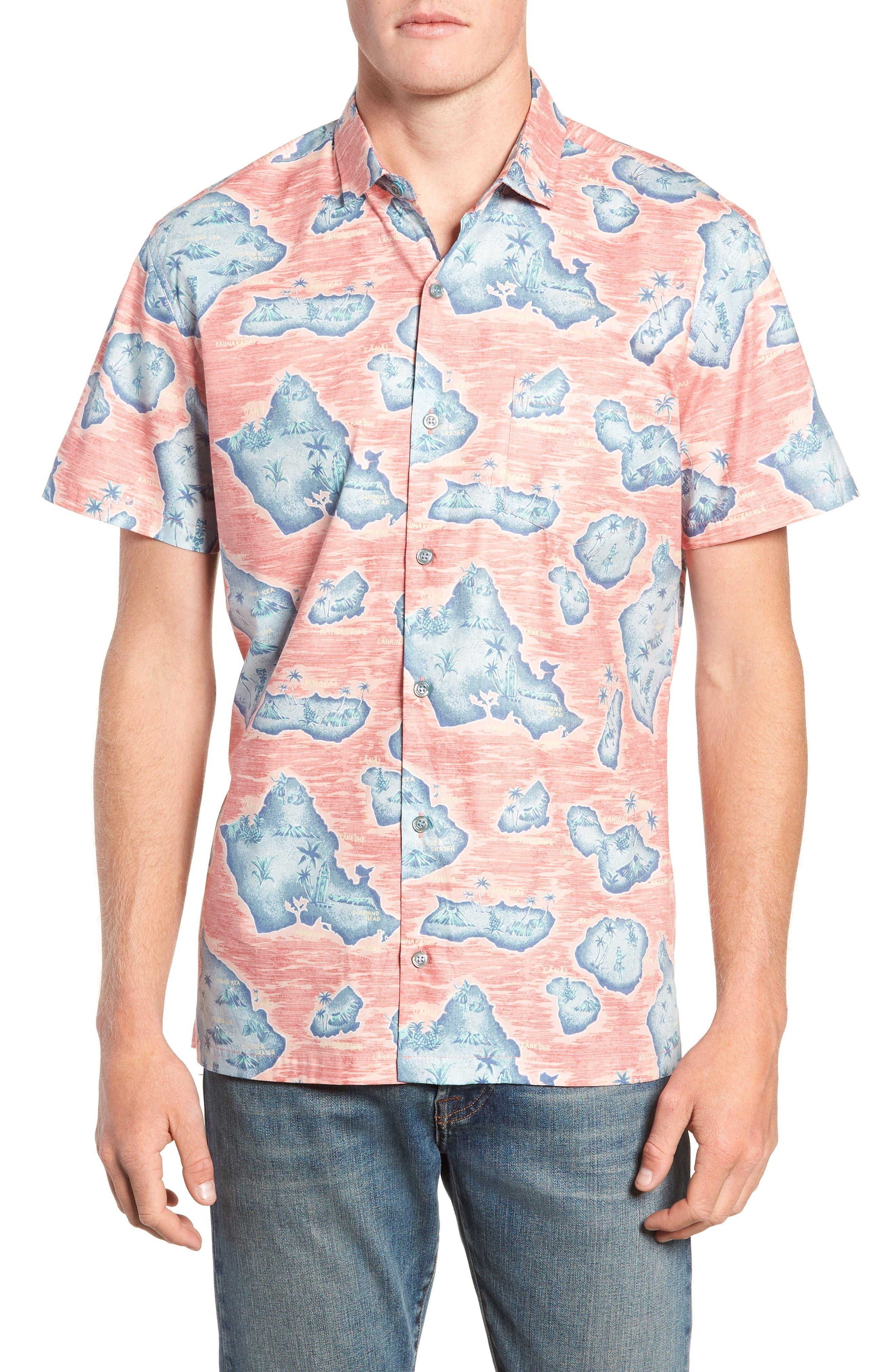 Tori Richard Sandwich Isle Regular Fit Sport Shirt, Orange