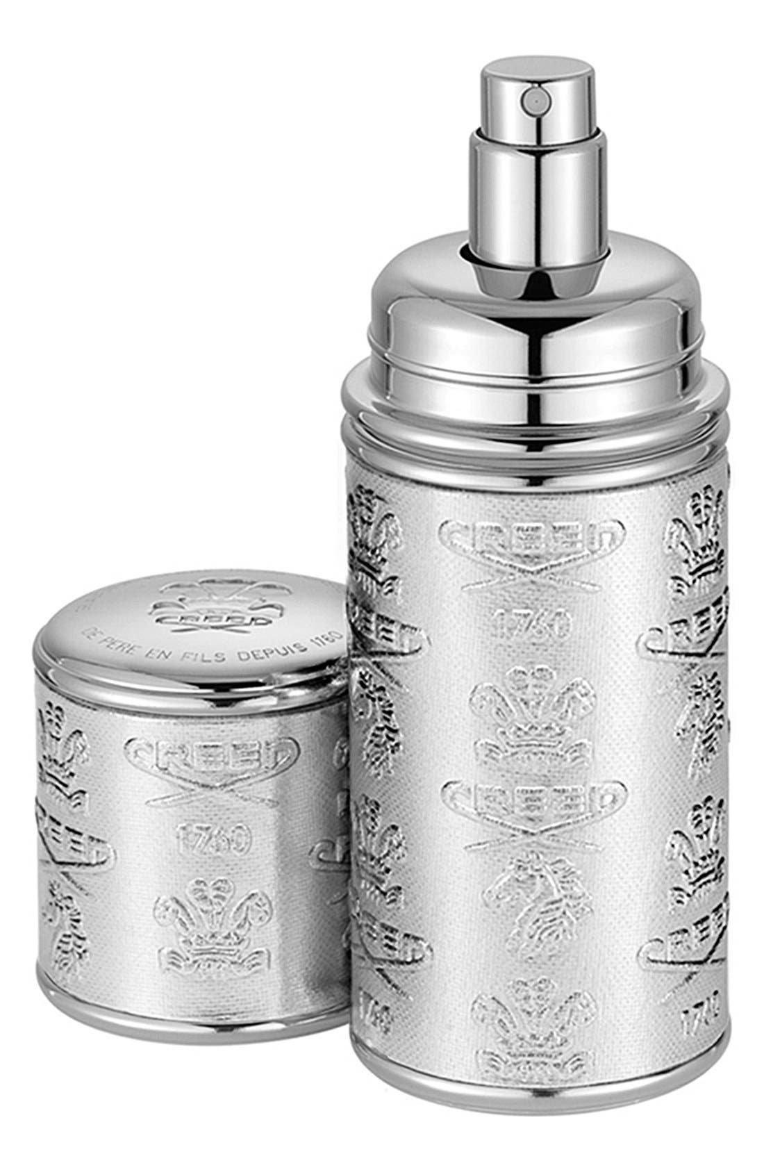 Silver Leather Atomizer,                             Main thumbnail 1, color,                             NO COLOR