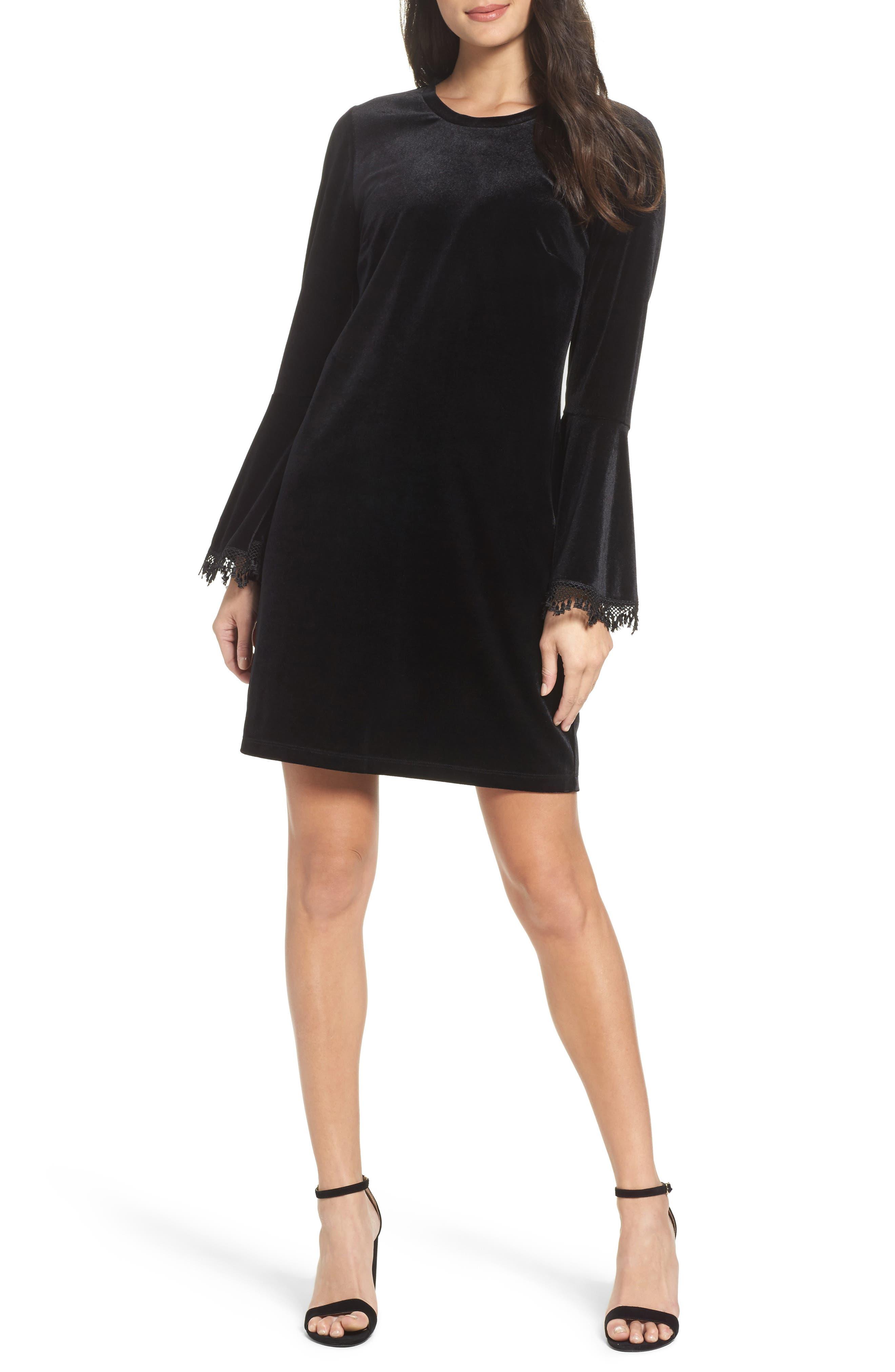 Hallie Bell Sleeve Velvet Dress,                             Main thumbnail 1, color,                             001