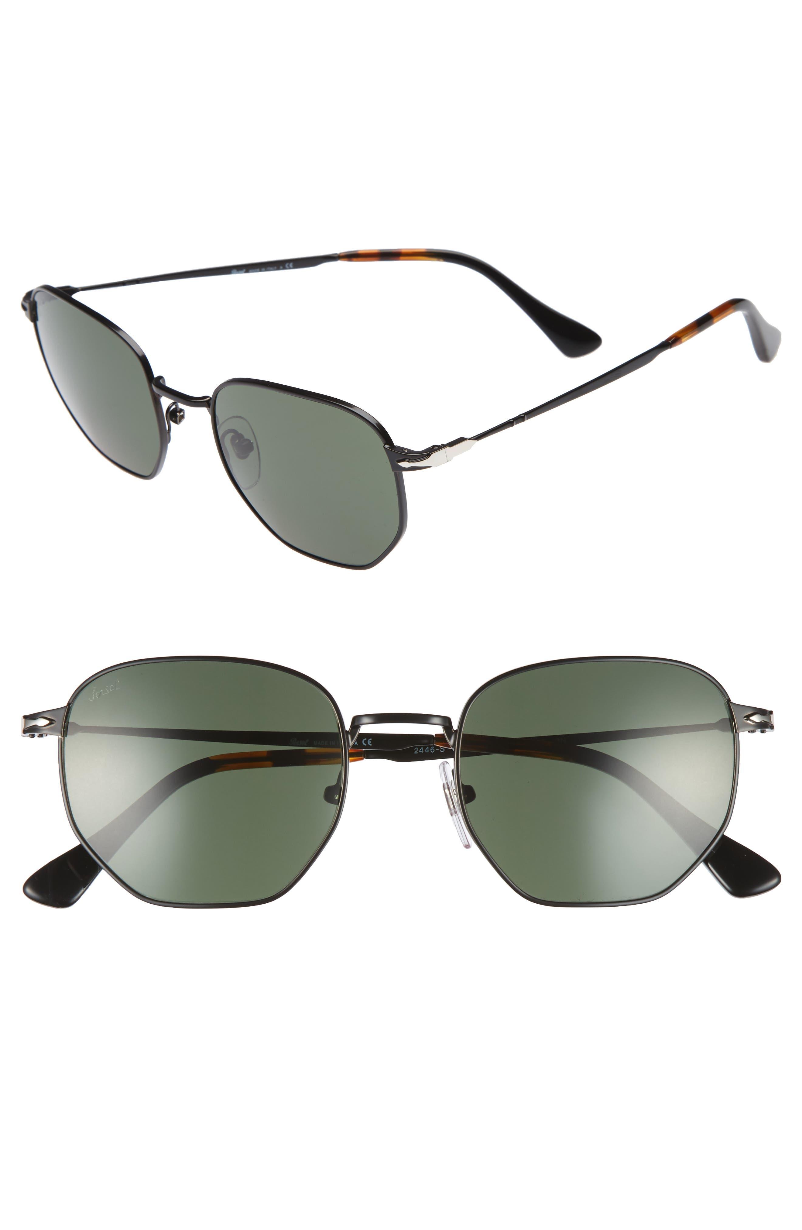 Irregular 52mm Sunglasses,                             Main thumbnail 1, color,                             BLACK