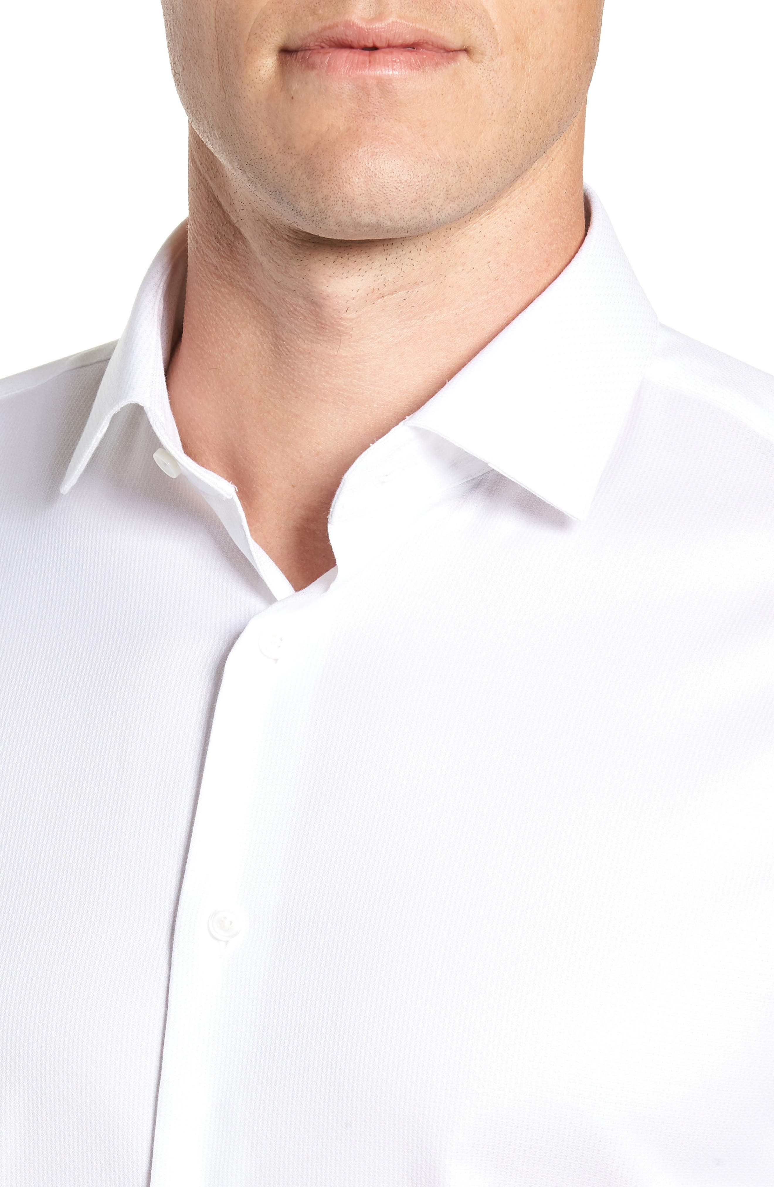 Trim Fit Non-Iron Print Dress Shirt,                             Alternate thumbnail 2, color,                             WHITE