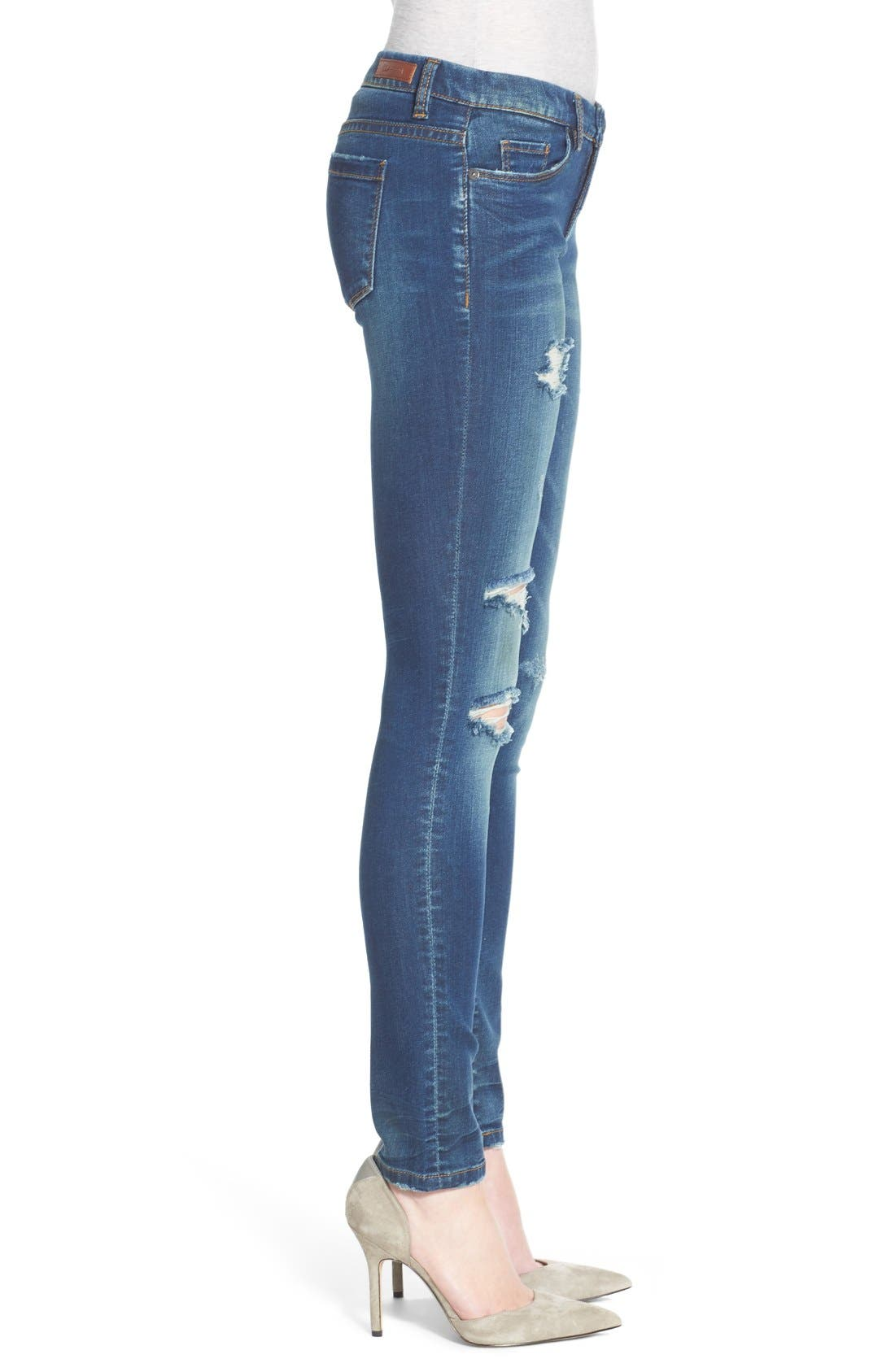 'Instagirl' Distressed Skinny Jeans,                             Alternate thumbnail 6, color,