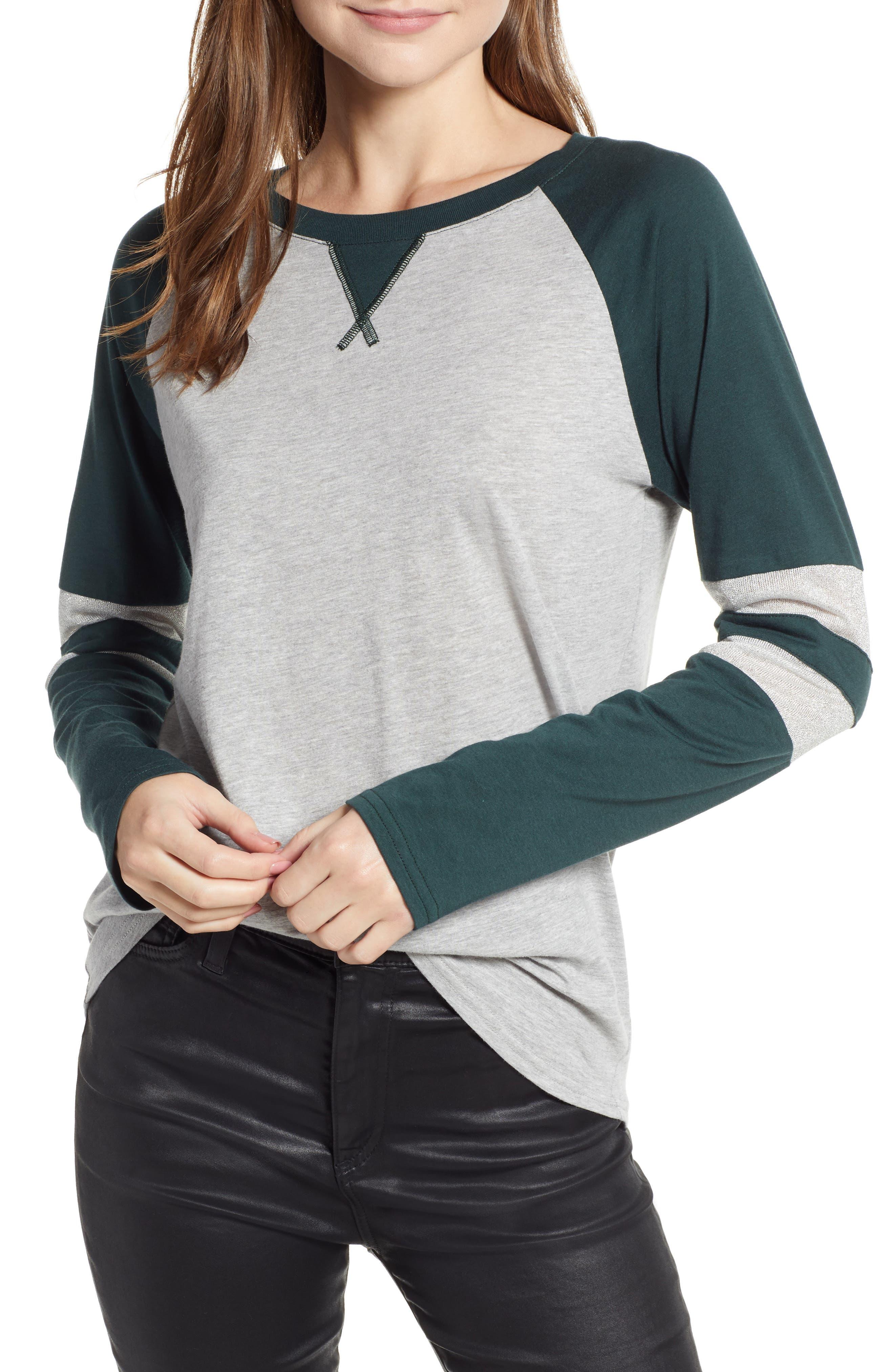 Colorblock Cotton Blend Raglan Top,                         Main,                         color, GREY- GREEN GABLES COMBO