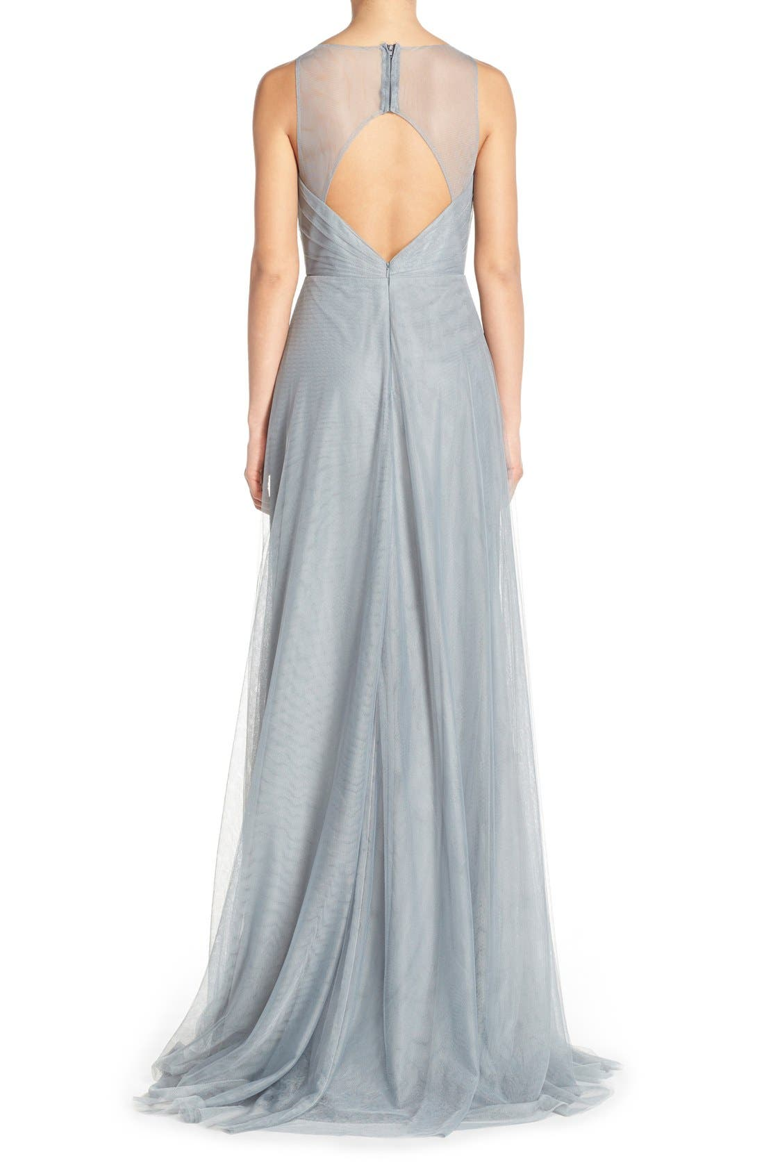Back Cutout Pleat Tulle Gown,                             Alternate thumbnail 7, color,