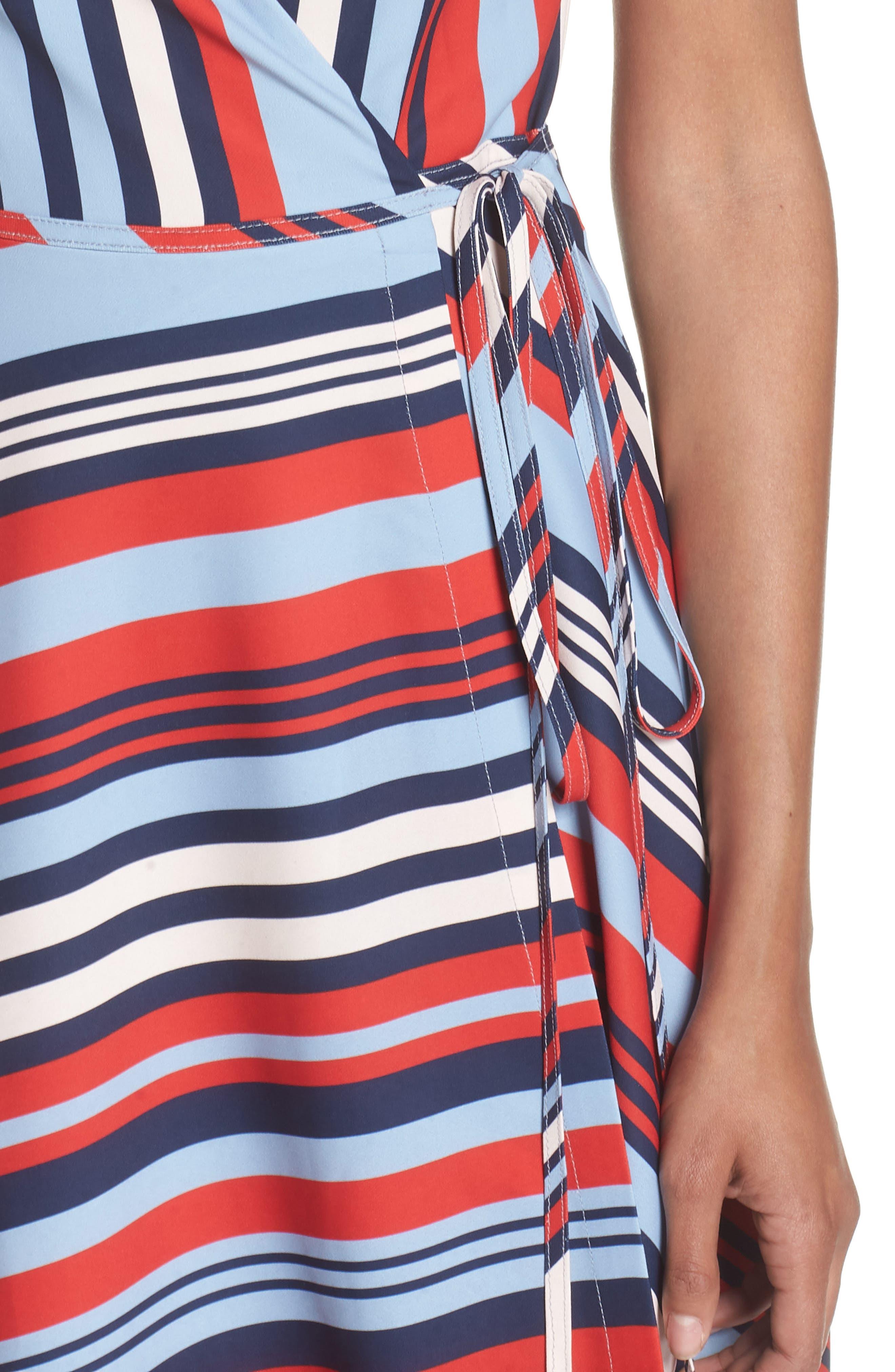 Milan Stripe Wrap Dress,                             Alternate thumbnail 4, color,                             648