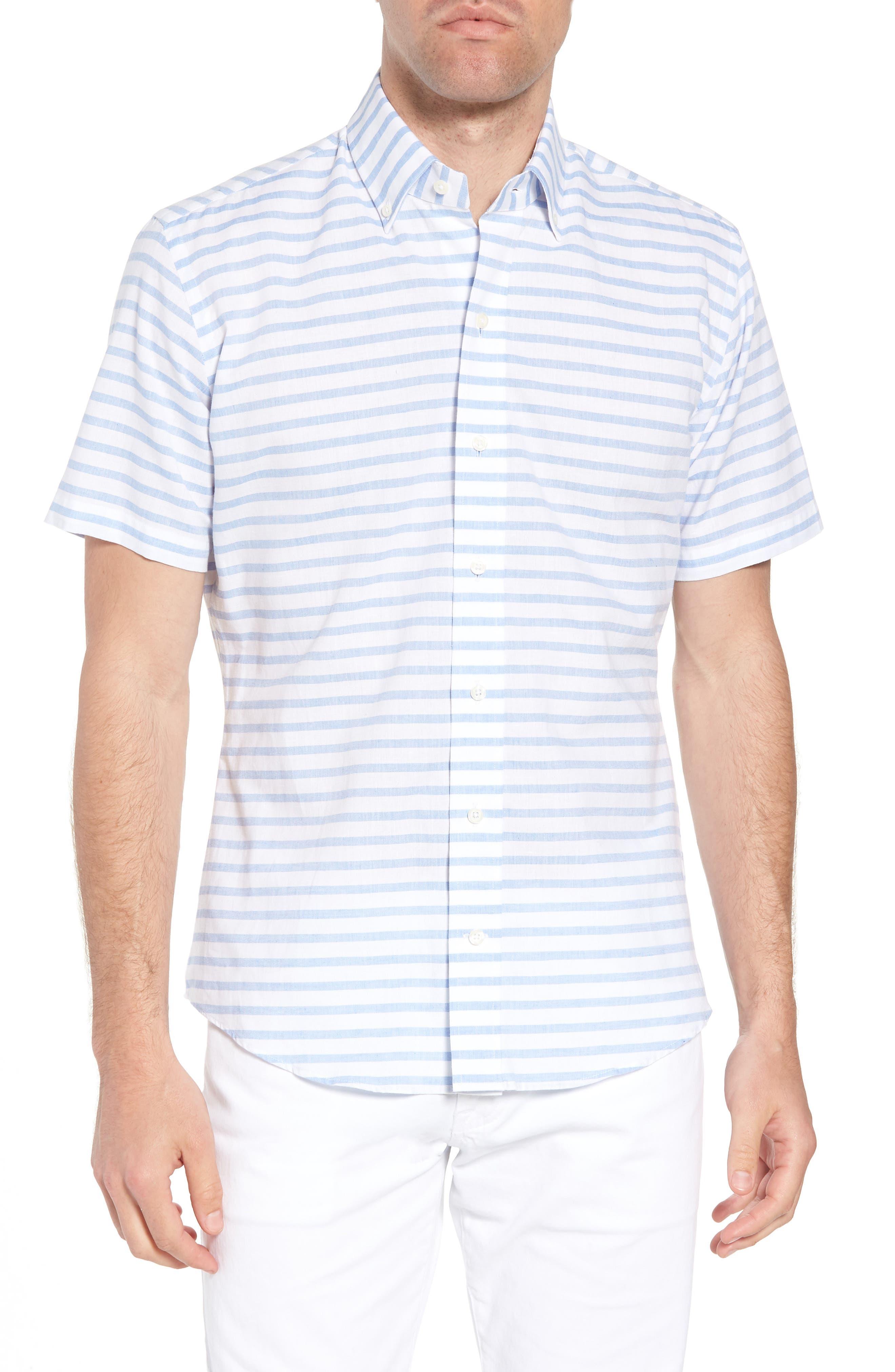 Gunnin Stripe Slim Fit Cotton & Linen Sport Shirt,                             Main thumbnail 1, color,                             400