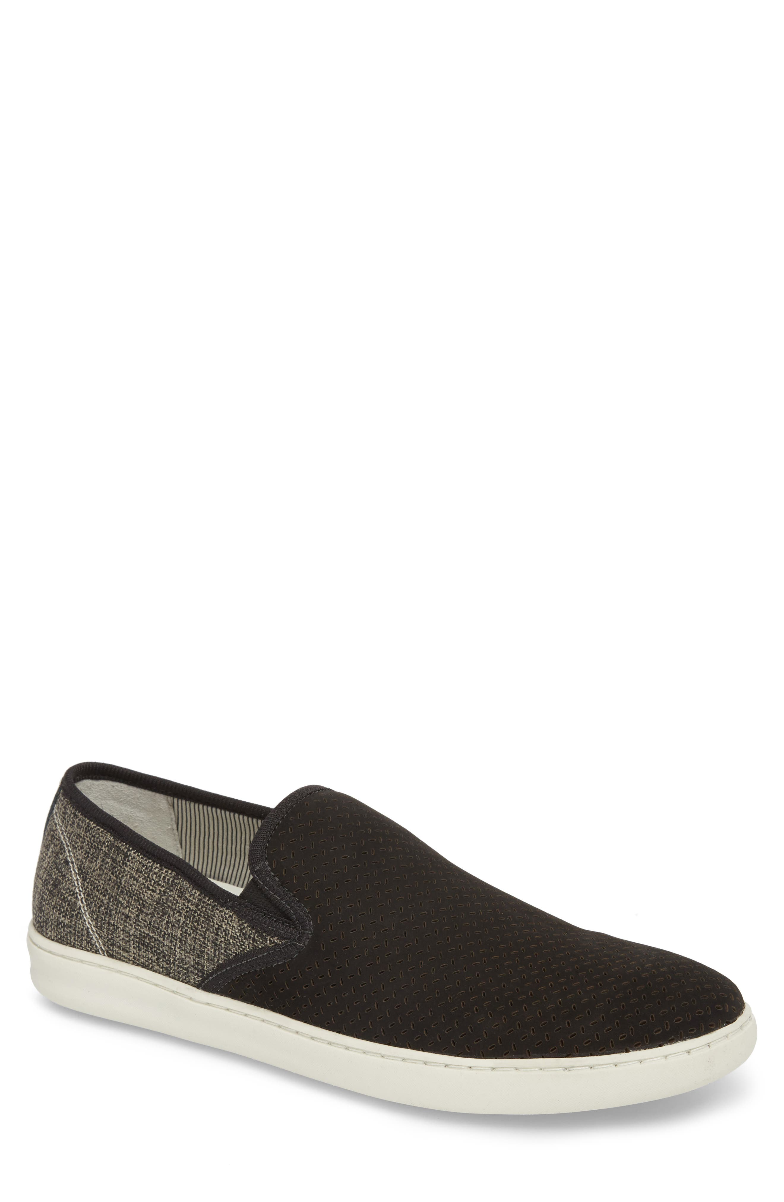 Malibu Perforated Loafer,                         Main,                         color, BLACK LEATHER / GREY CANVAS