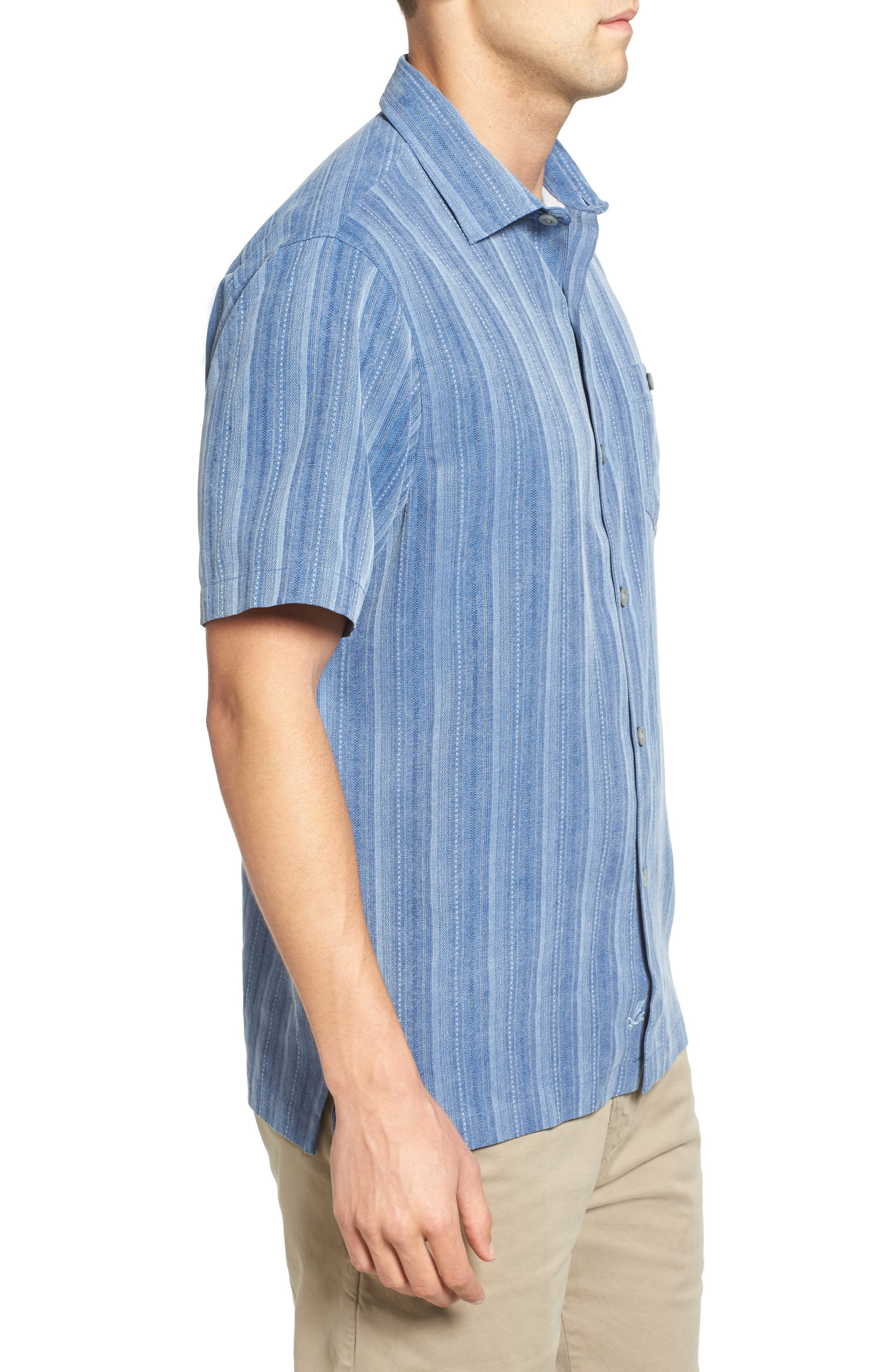 Zaldera Stripe Silk Camp Shirt,                             Alternate thumbnail 11, color,