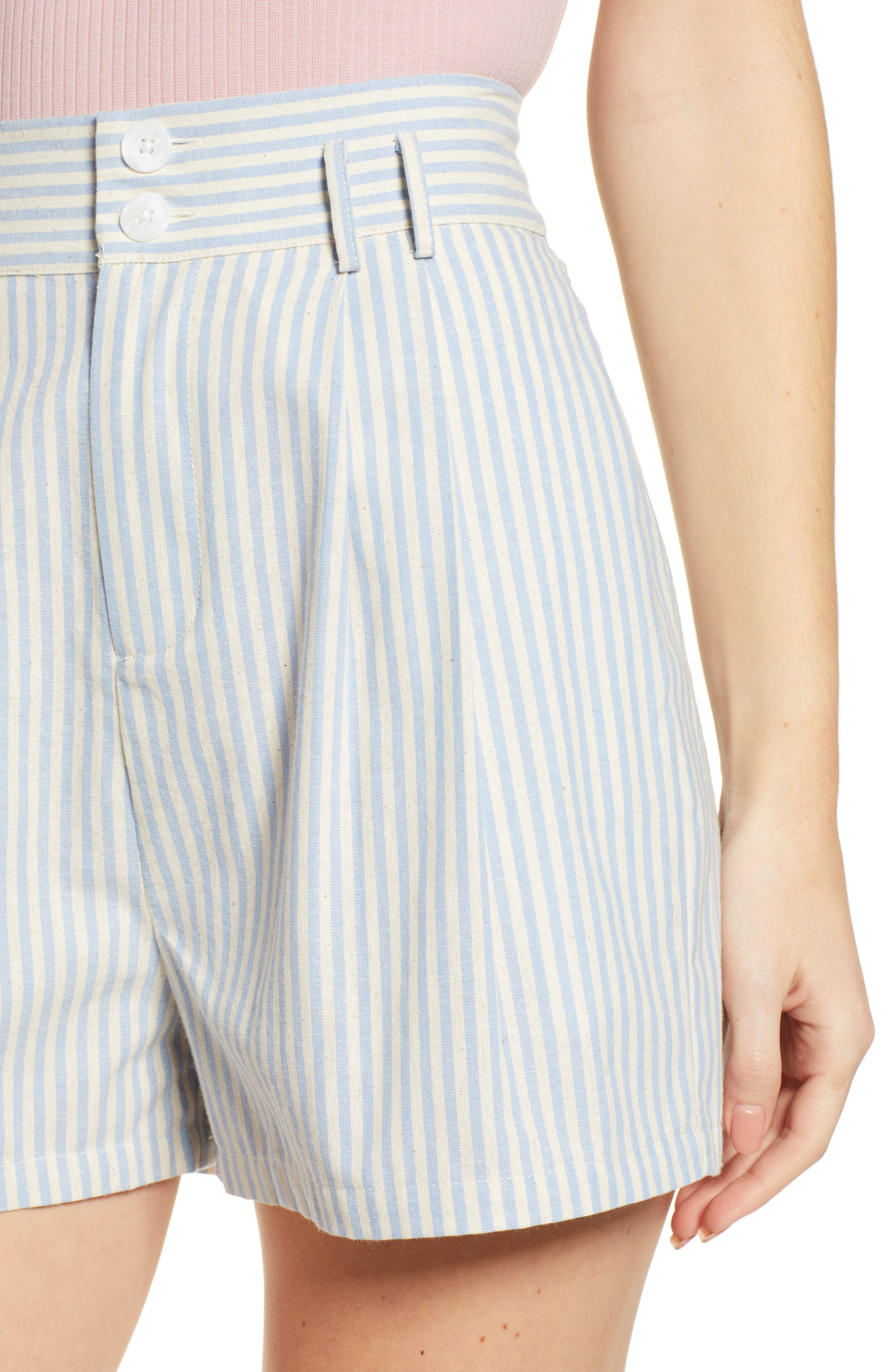 Striped Bermuda Shorts,                             Alternate thumbnail 4, color,                             BLUE