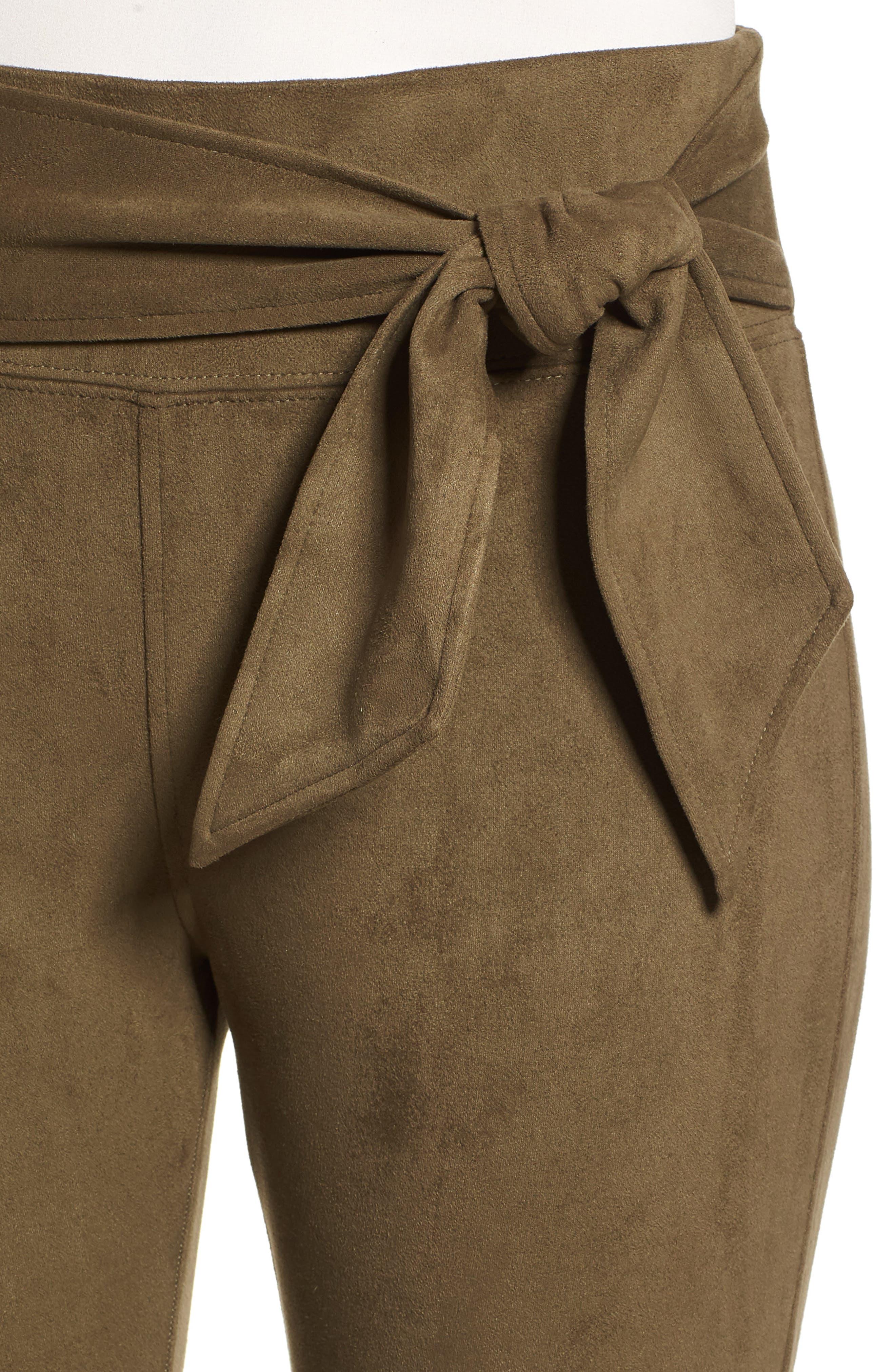 DAVID LERNER,                             Waist Tie Skimmer Leggings,                             Alternate thumbnail 4, color,                             ARMY GREEN
