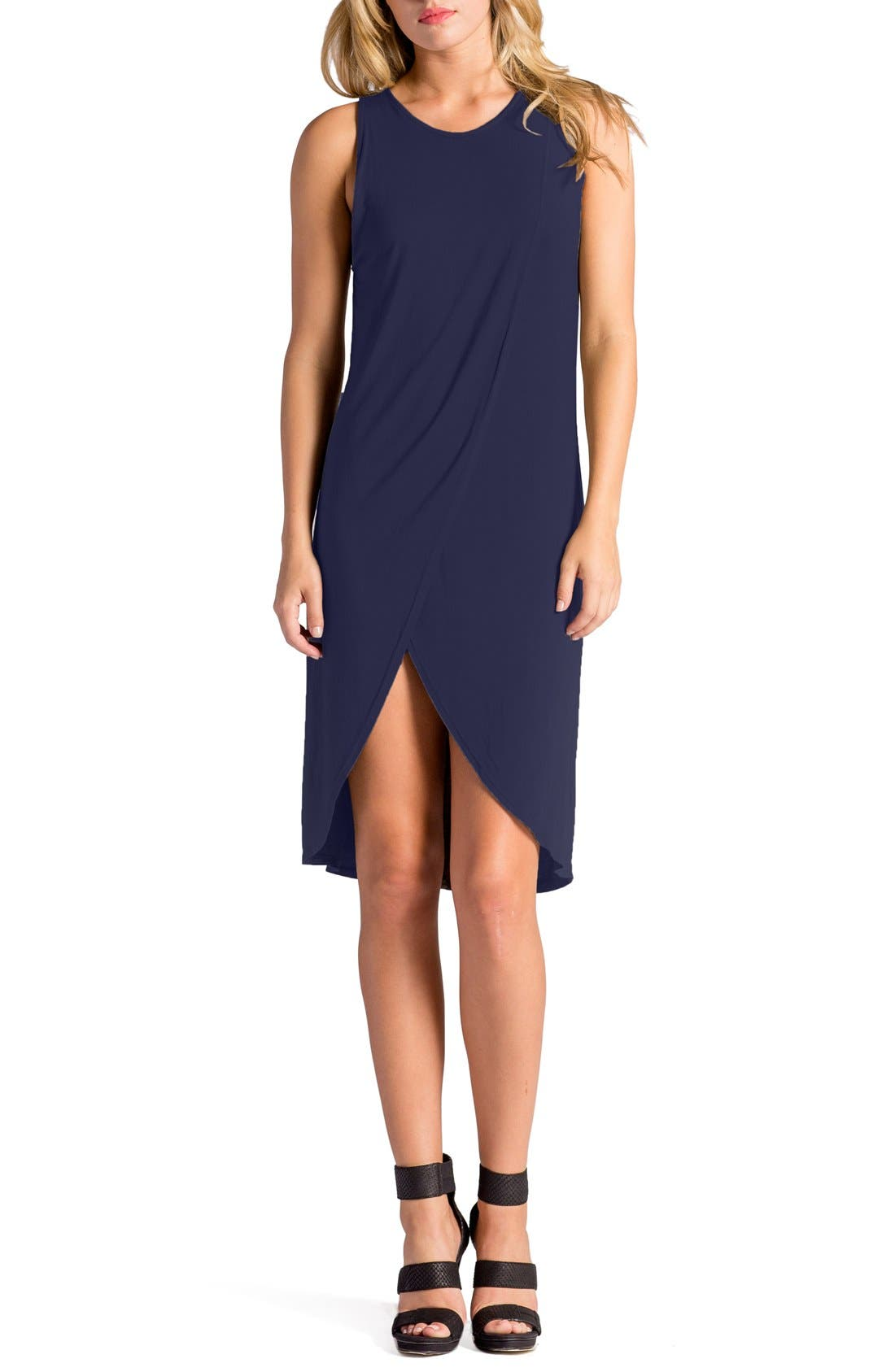 Elba Asymmetrical Hem Sleeveless Jersey Dress,                             Main thumbnail 4, color,