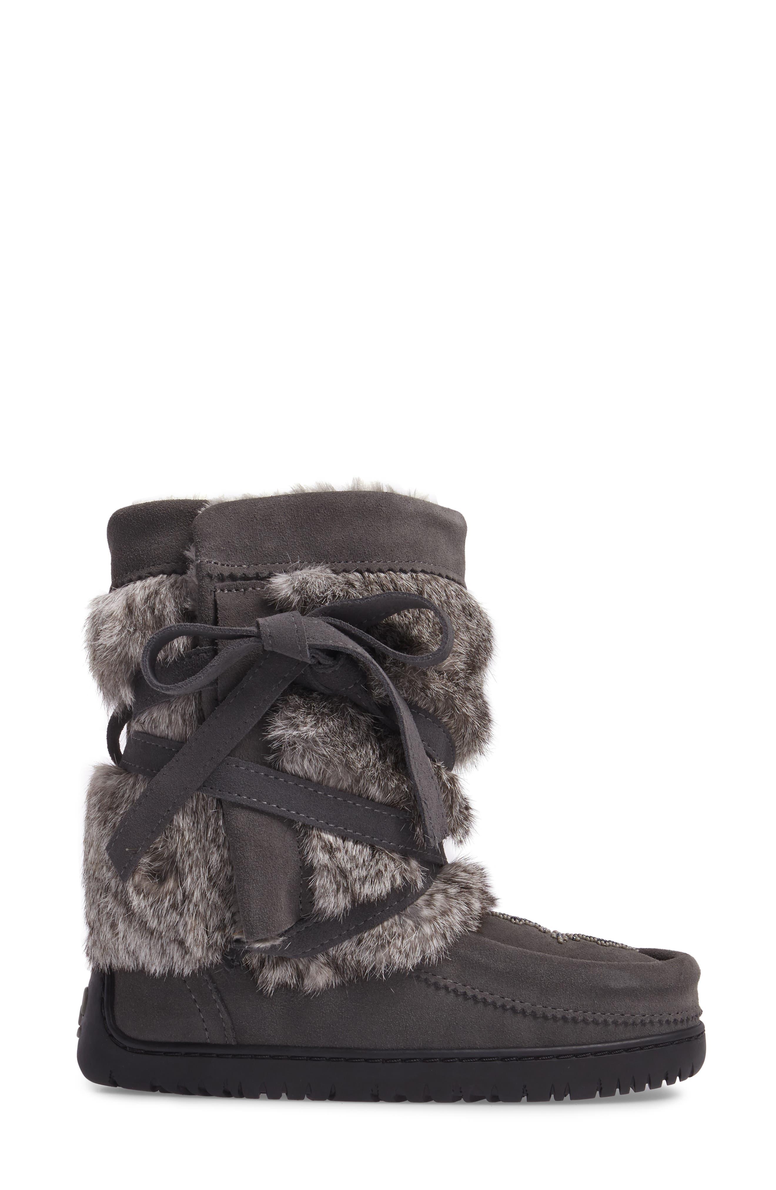 Beaded Short Wrap Genuine Rabbit Fur & Shearling Boot,                             Alternate thumbnail 3, color,                             CHARCOAL FUR