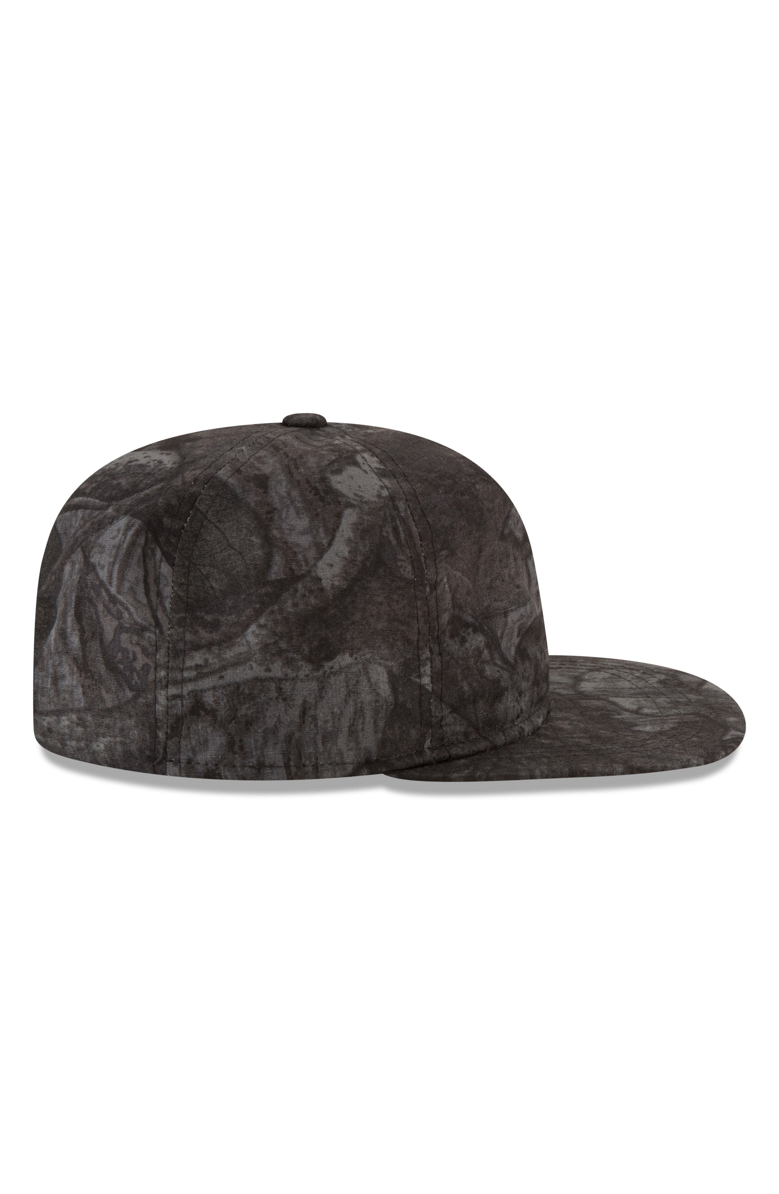 9Twenty Tonal Camo Flat Brim Hat,                             Alternate thumbnail 3, color,                             BLACK