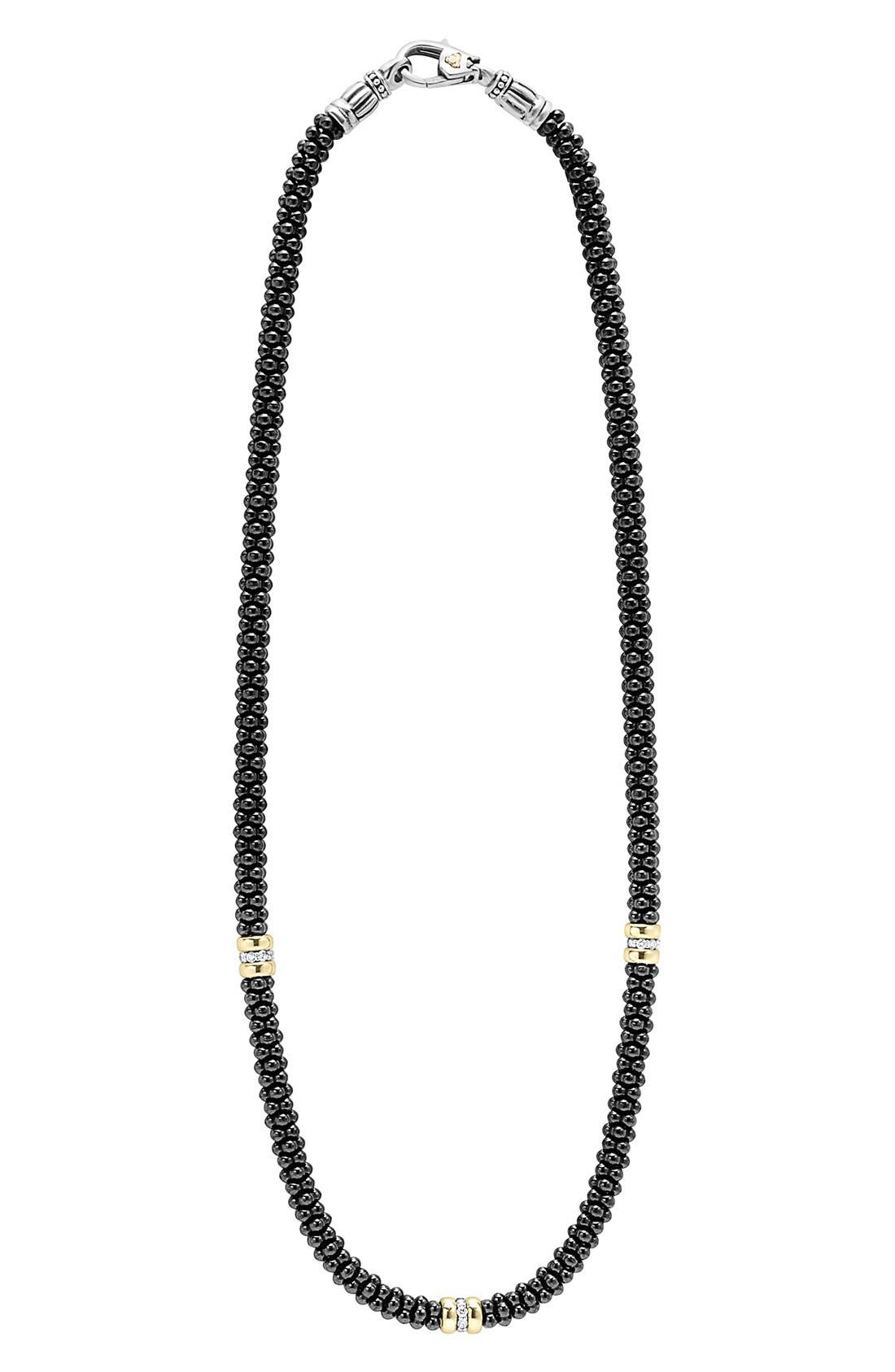 'Black Caviar' Station Necklace,                             Main thumbnail 1, color,                             BLACK CAVIAR/ GOLD