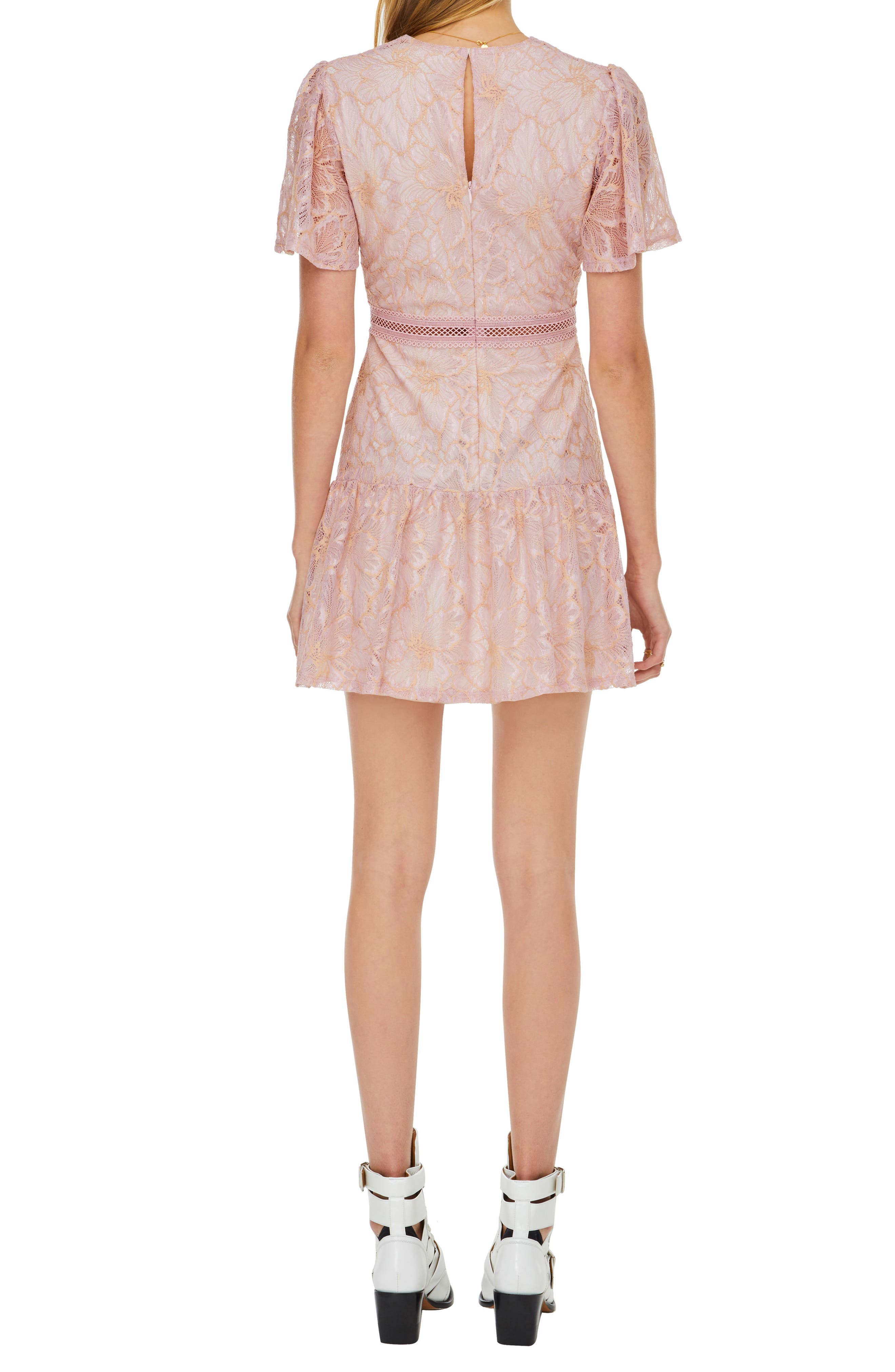 Muse Lace Skater Dress,                             Alternate thumbnail 2, color,                             ICY PINK